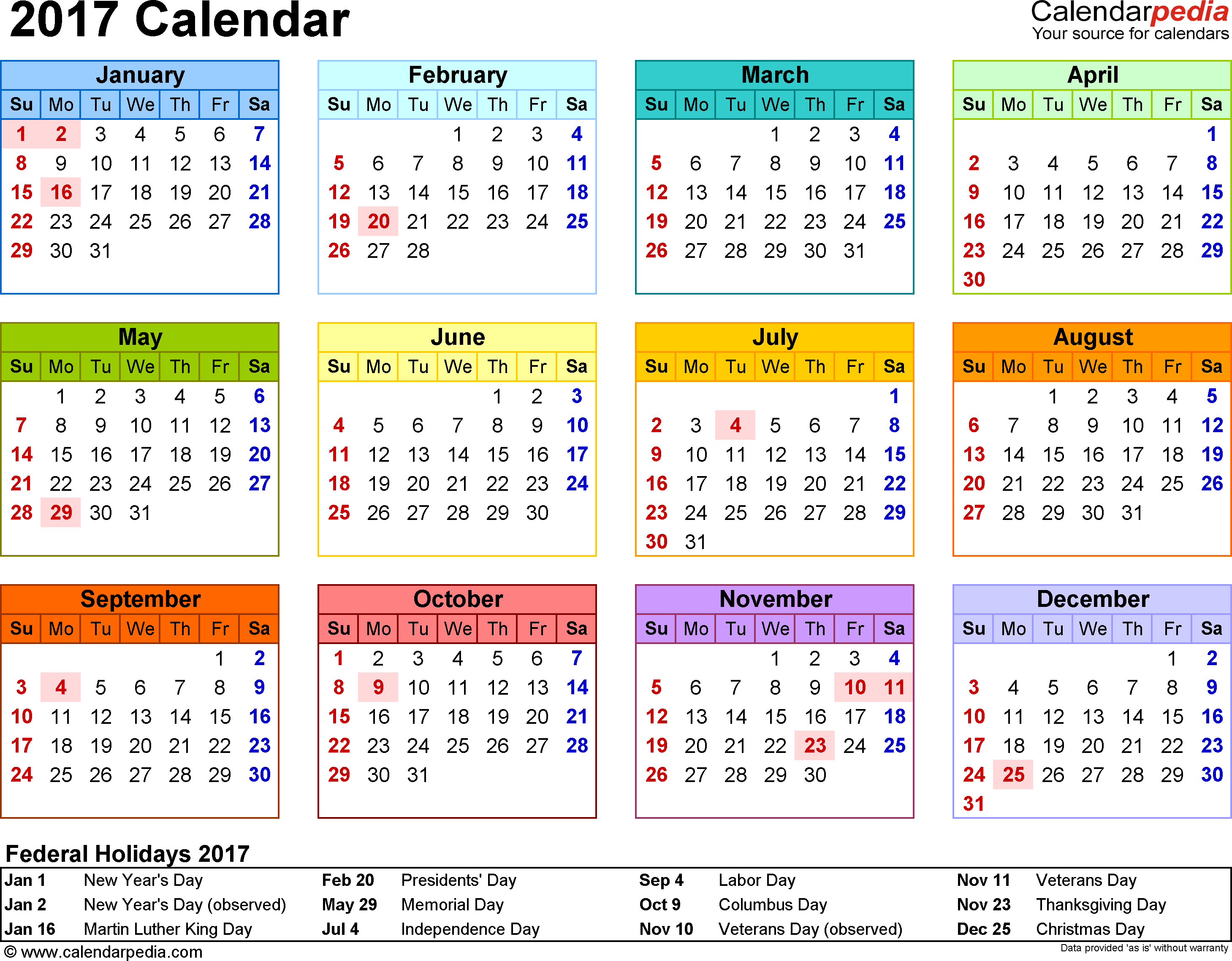 Template 8: 2017 Calendar For Word, Year At A Glance, 1 Page