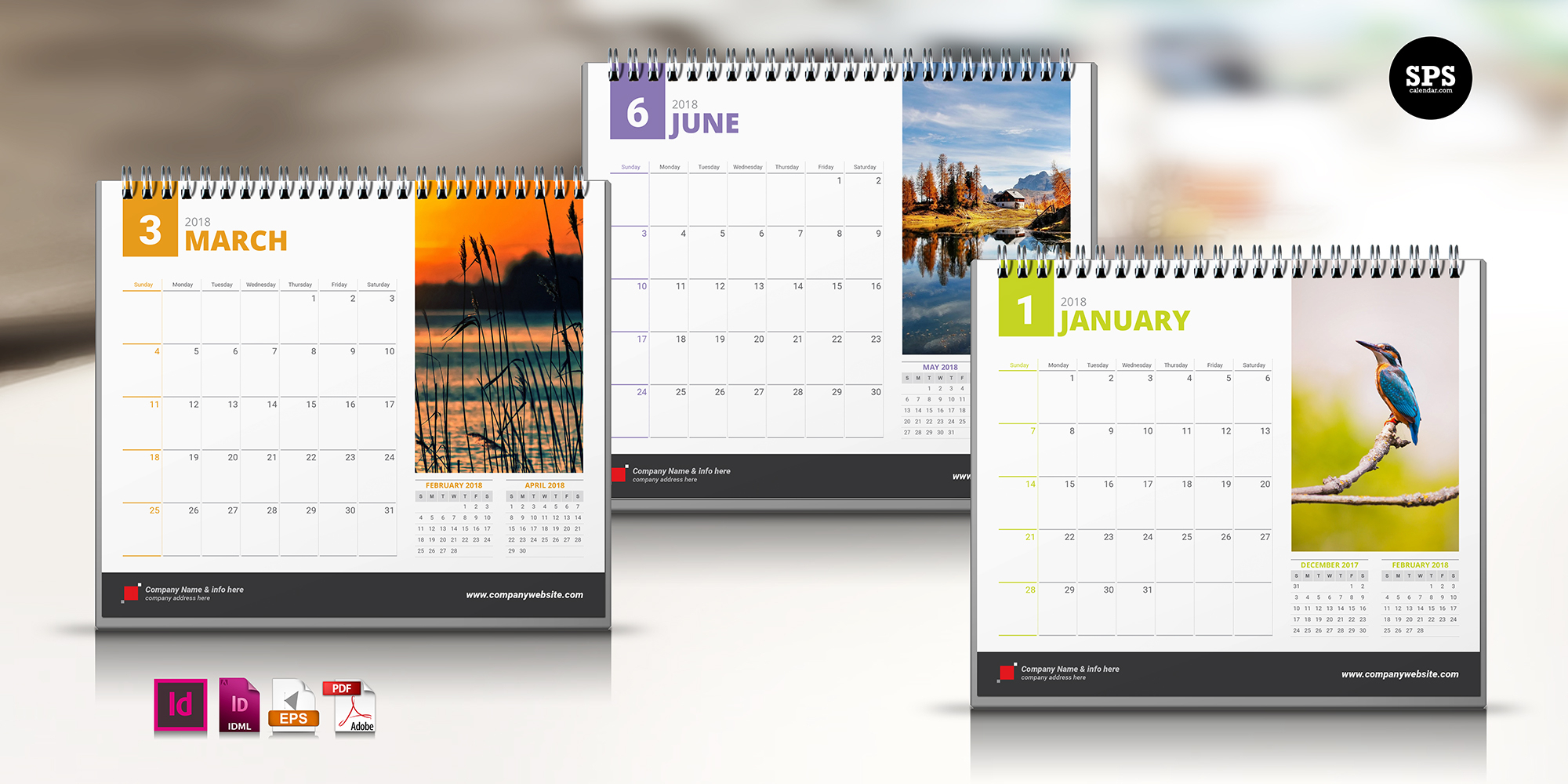 Template Calendar 2018 Indesign Free | Printable Calendar 2019