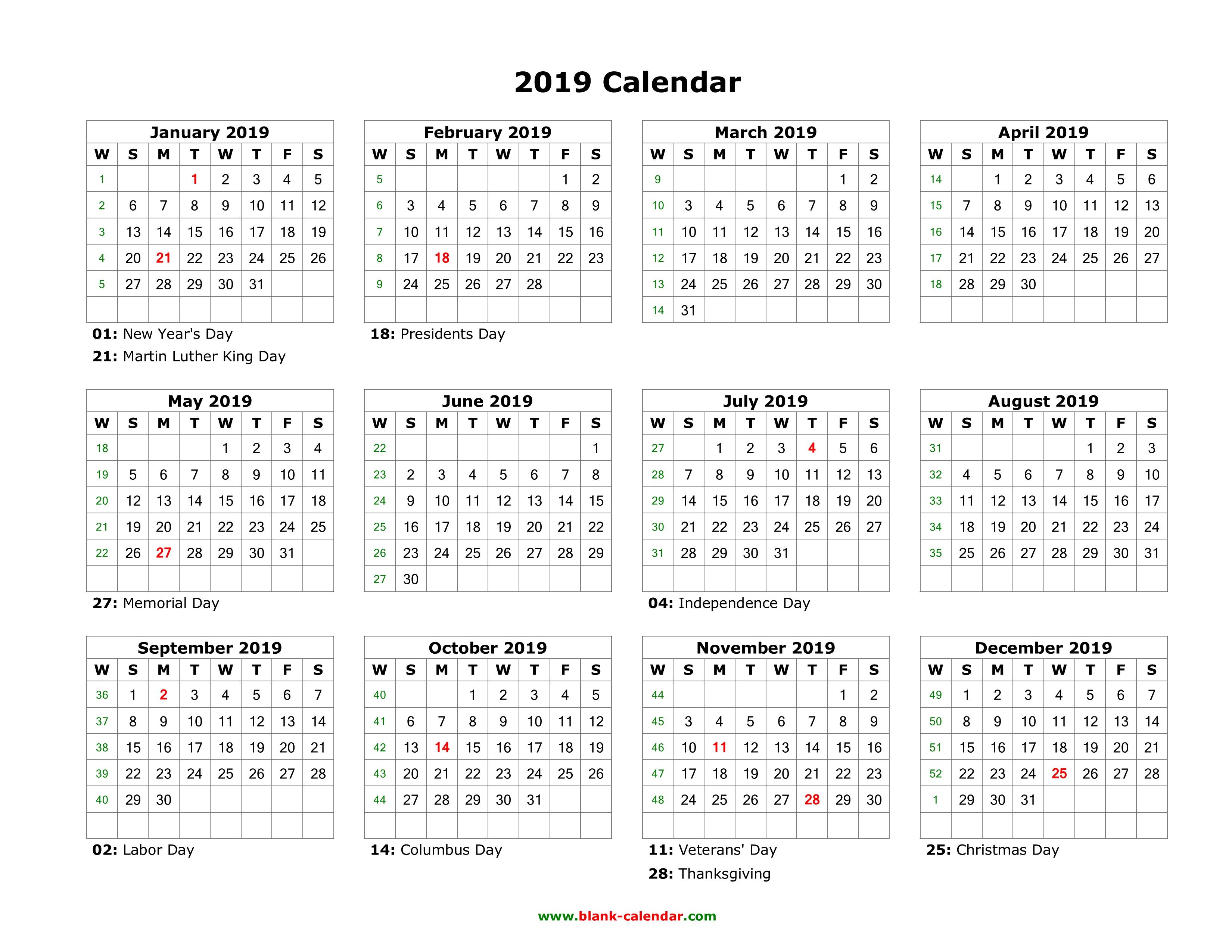 Template Calendar 2019 Indesign Free | Printable Calendar 2019