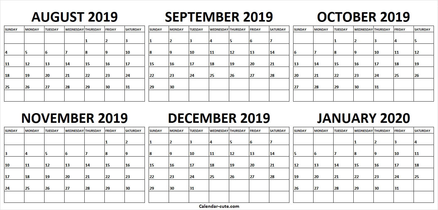 Template Calendar August 2019 To January 2020   Yearly Calendar
