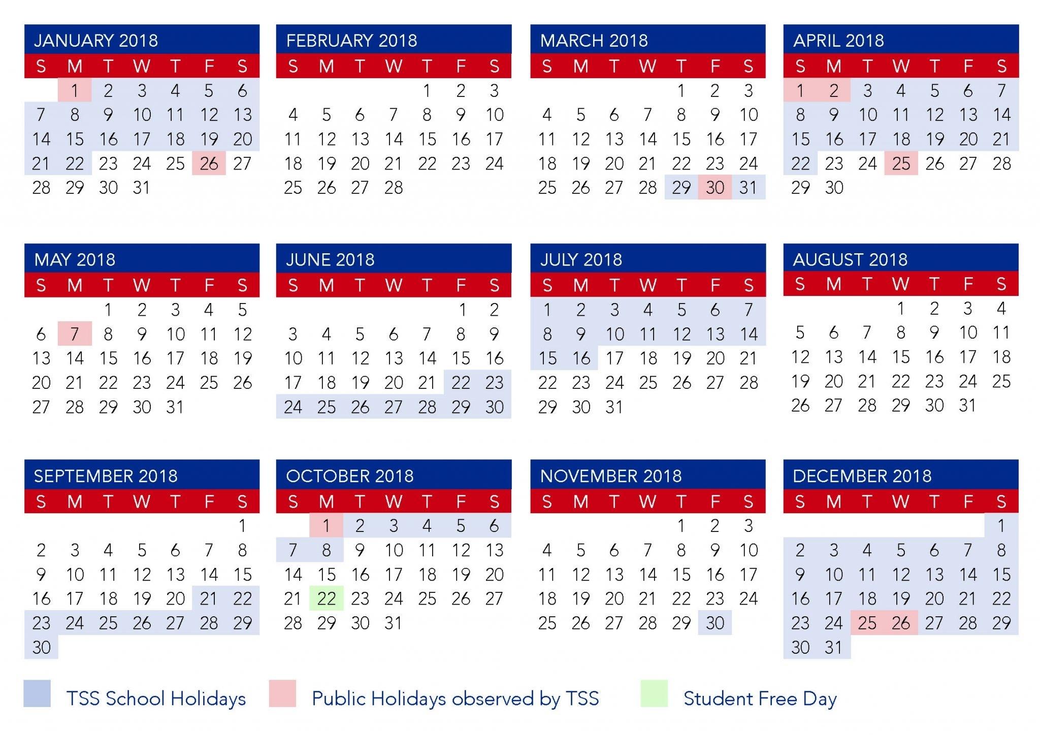 Term Calendar Dates | The Southport School 2020 School