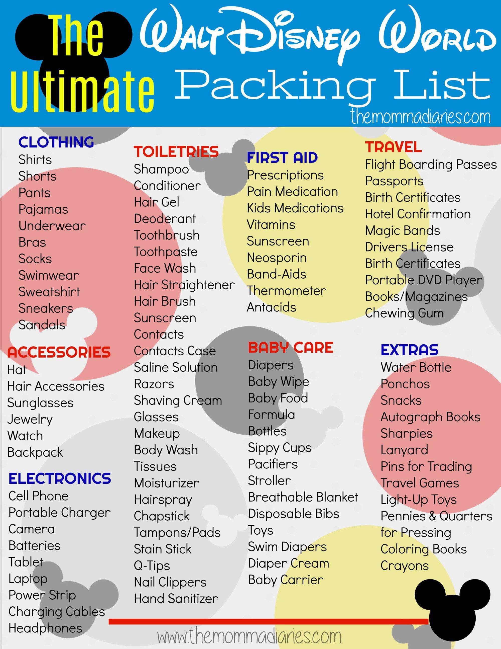 The Ultimate Disney Packing List + Free Printable | Disney