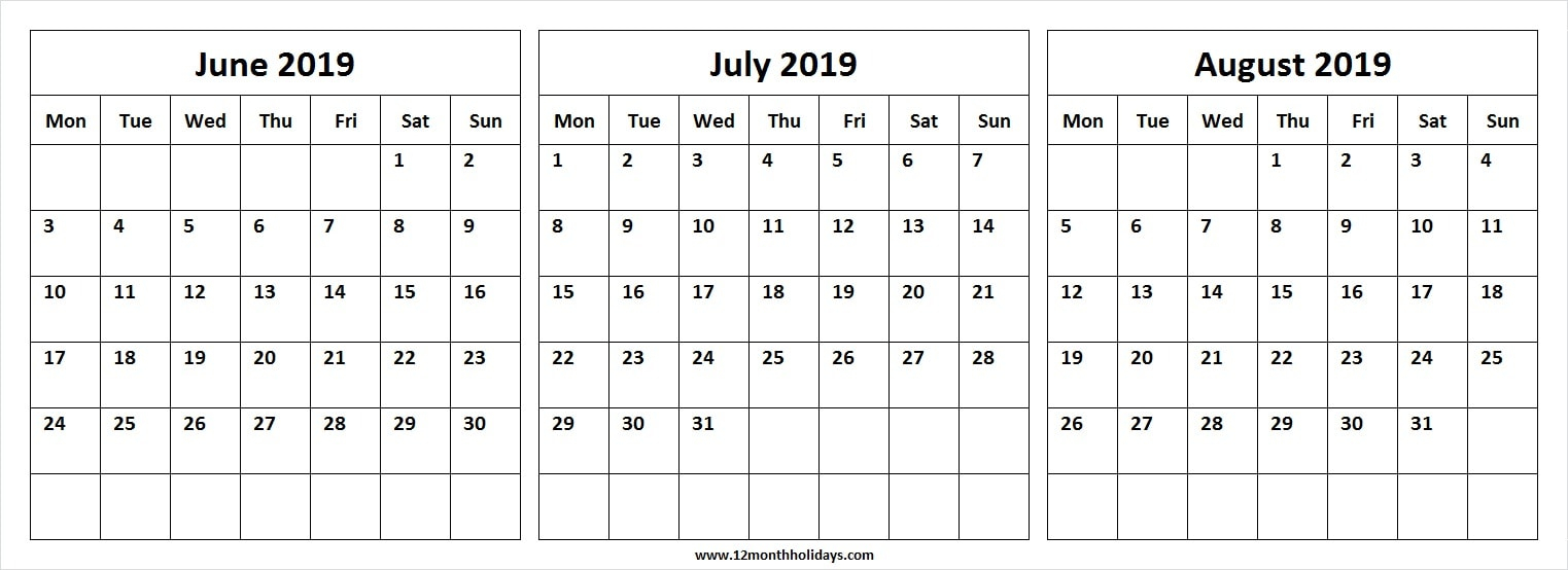 Three Month Calendar June July August 2019 | Editable