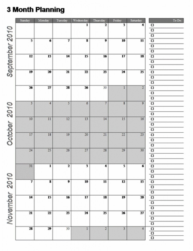 Three Month Calendar Template Great Printable Calendars