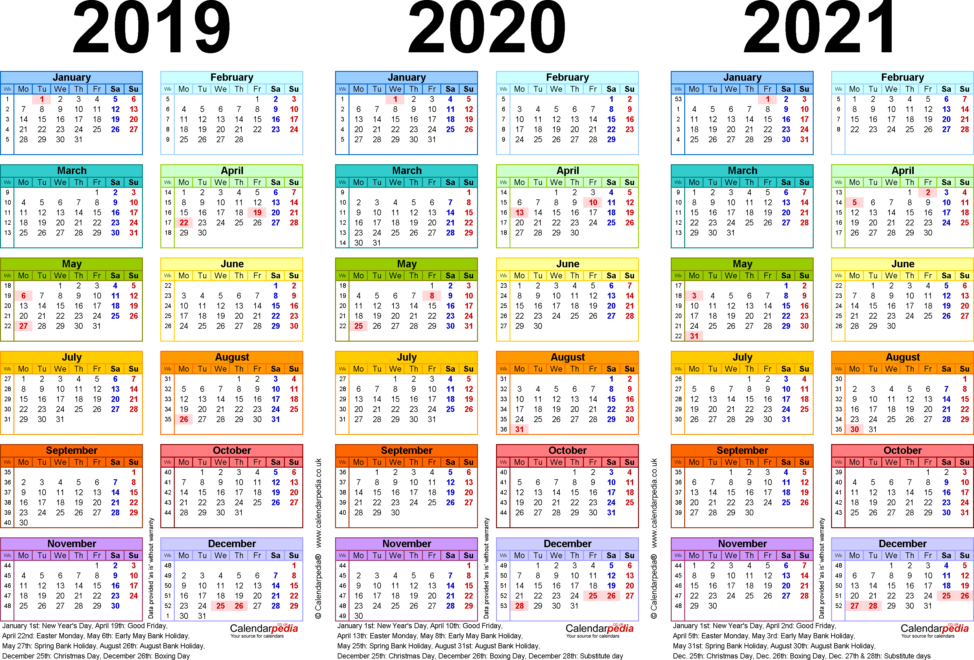 Three Year Calendars For 2019, 2020 & 2021 (Uk) For Excel
