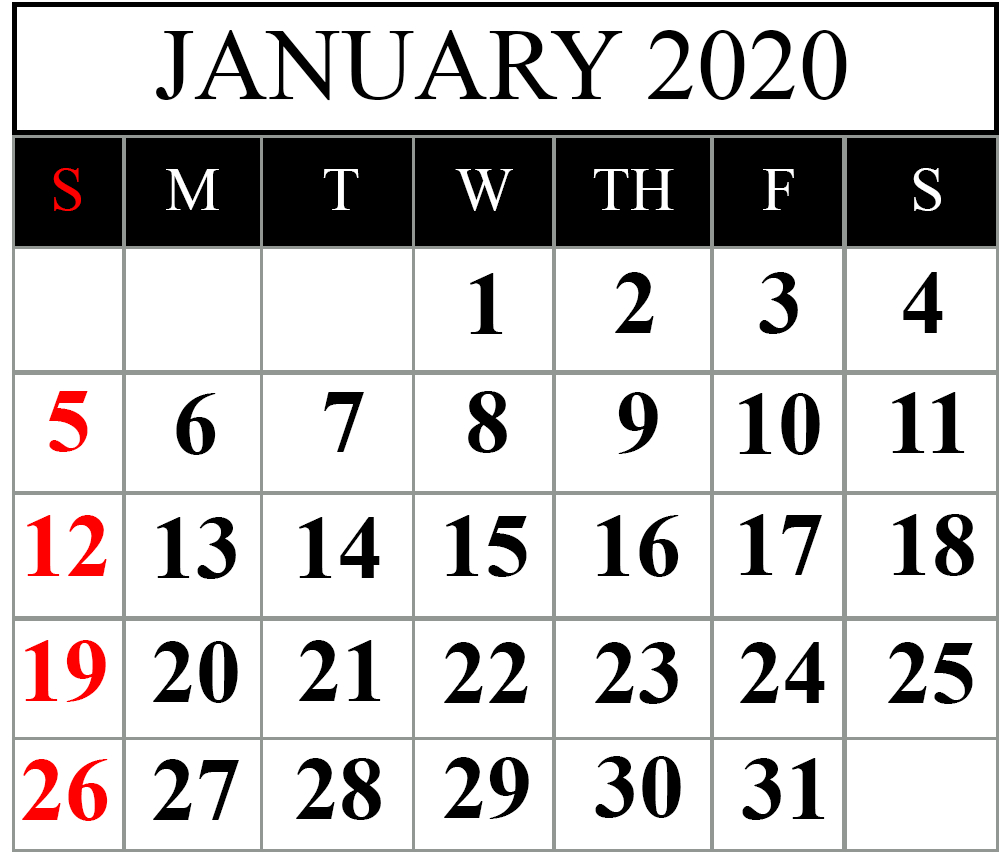 Top January 2020 Calendar Pdf, Word, Excel Template