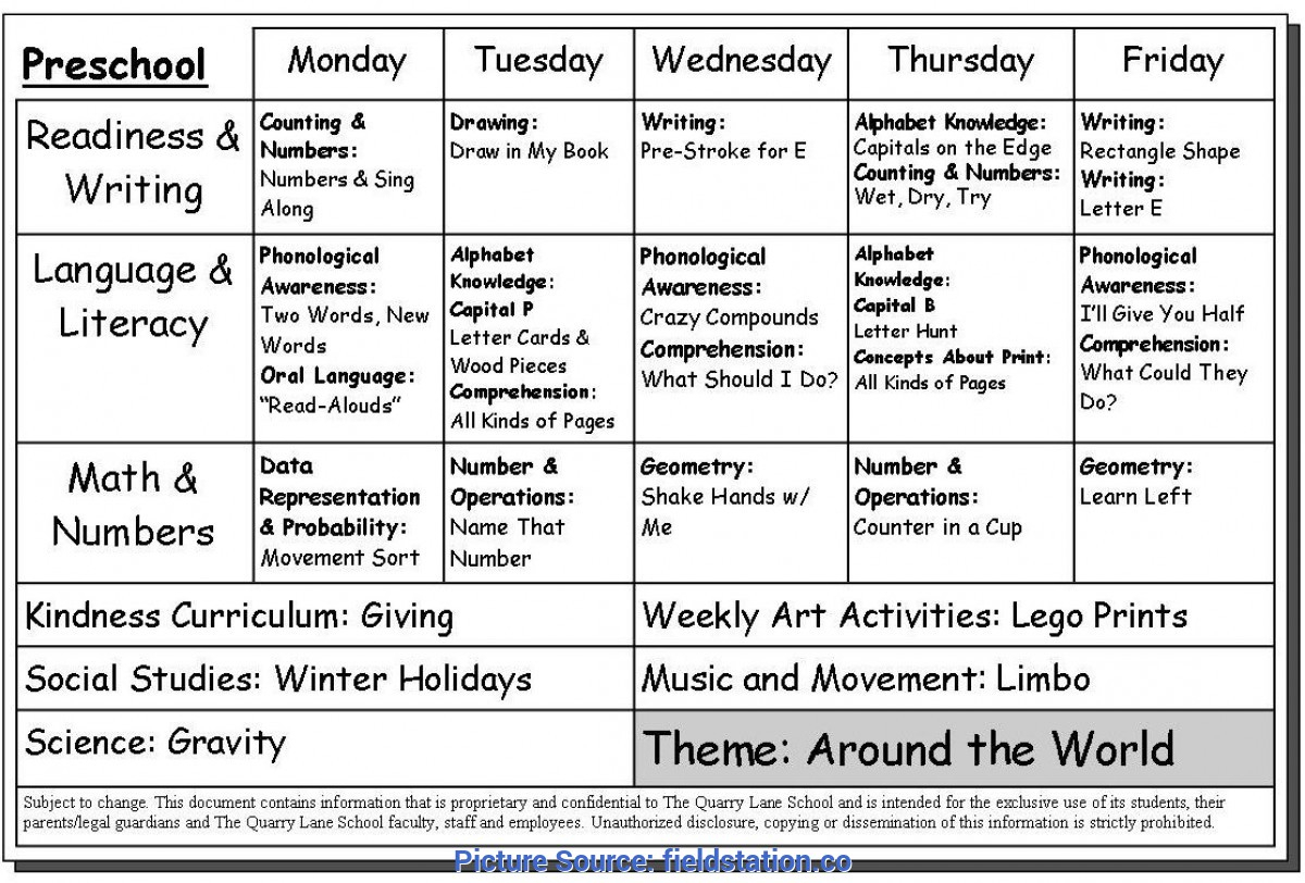 Top Lesson Plan Example For Preschool Weekly Lesson Plan For
