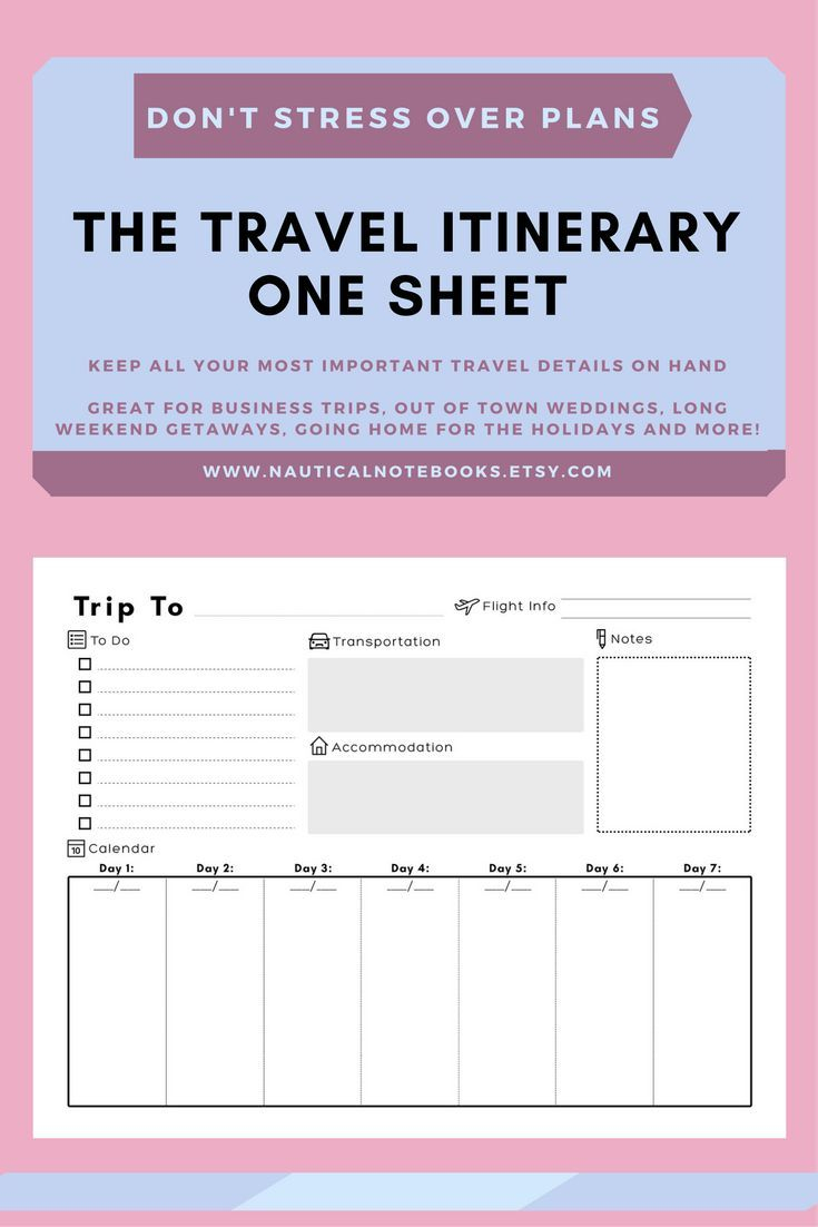 Travel Itinerary Template | Family Travel Planner