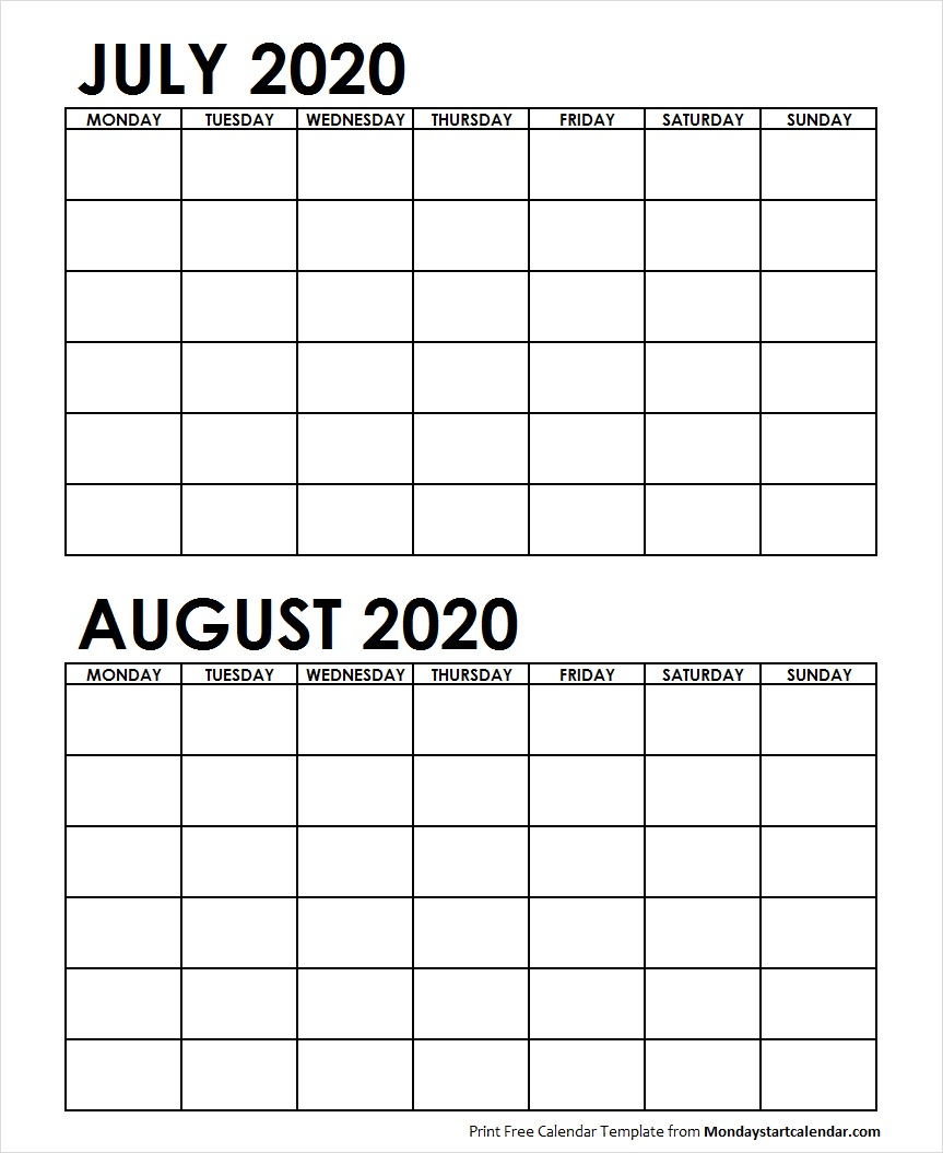 Two Month July August 2020 Calendar Blank   Two Months Template