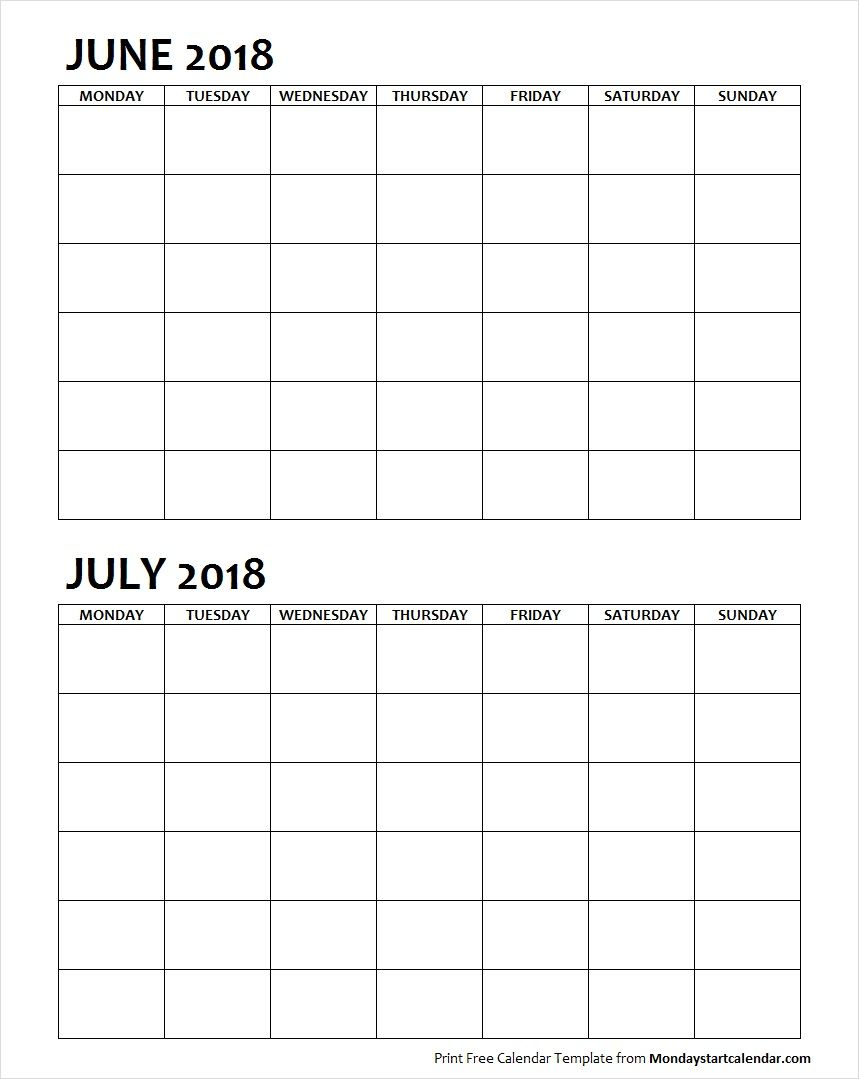 Two Month June July 2018 Calendar Blank | June 2018
