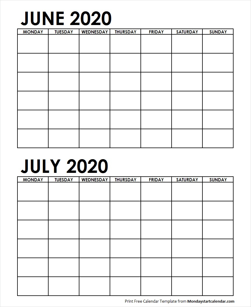 Two Month June July 2020 Calendar Blank | Two Months Template