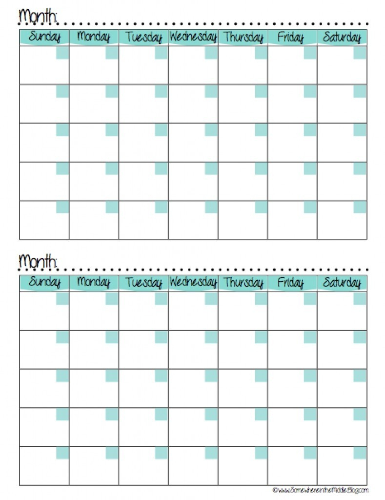 Two Month Printable Calendar Template 2017 Of On 2
