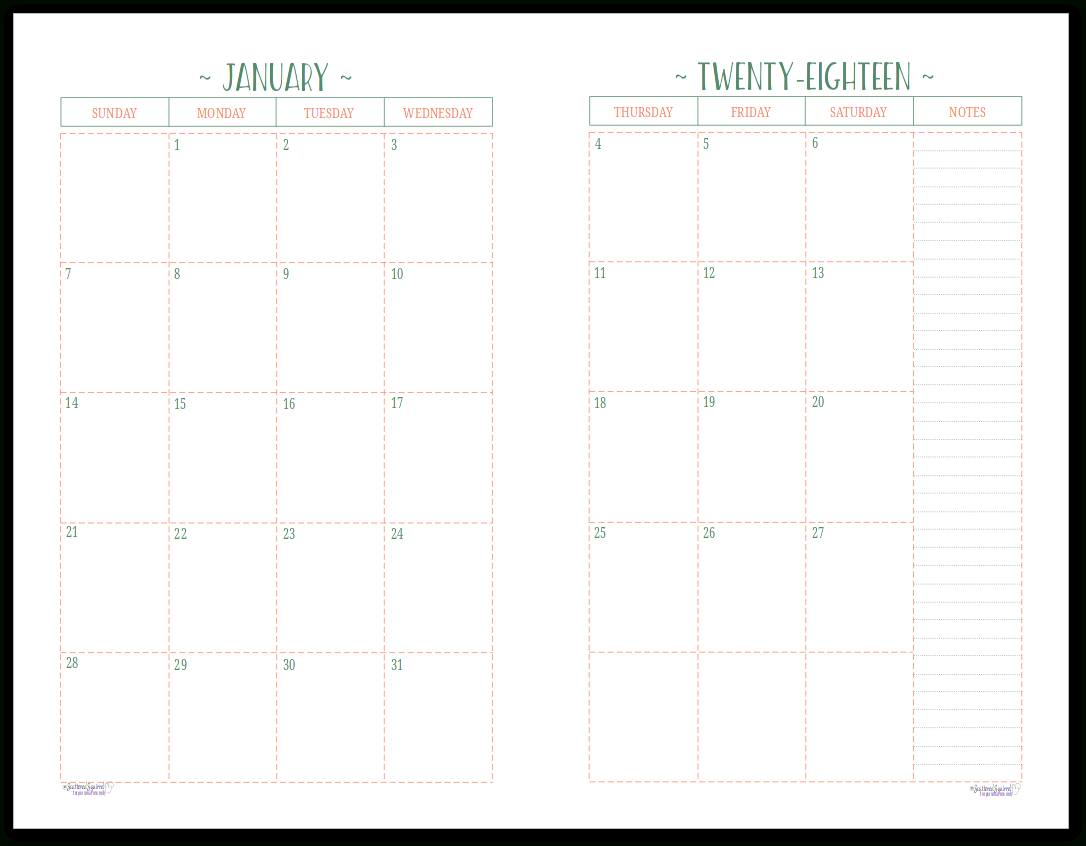 Two Page Per Month 2018 Dated Calendars Are Ready   Helpful