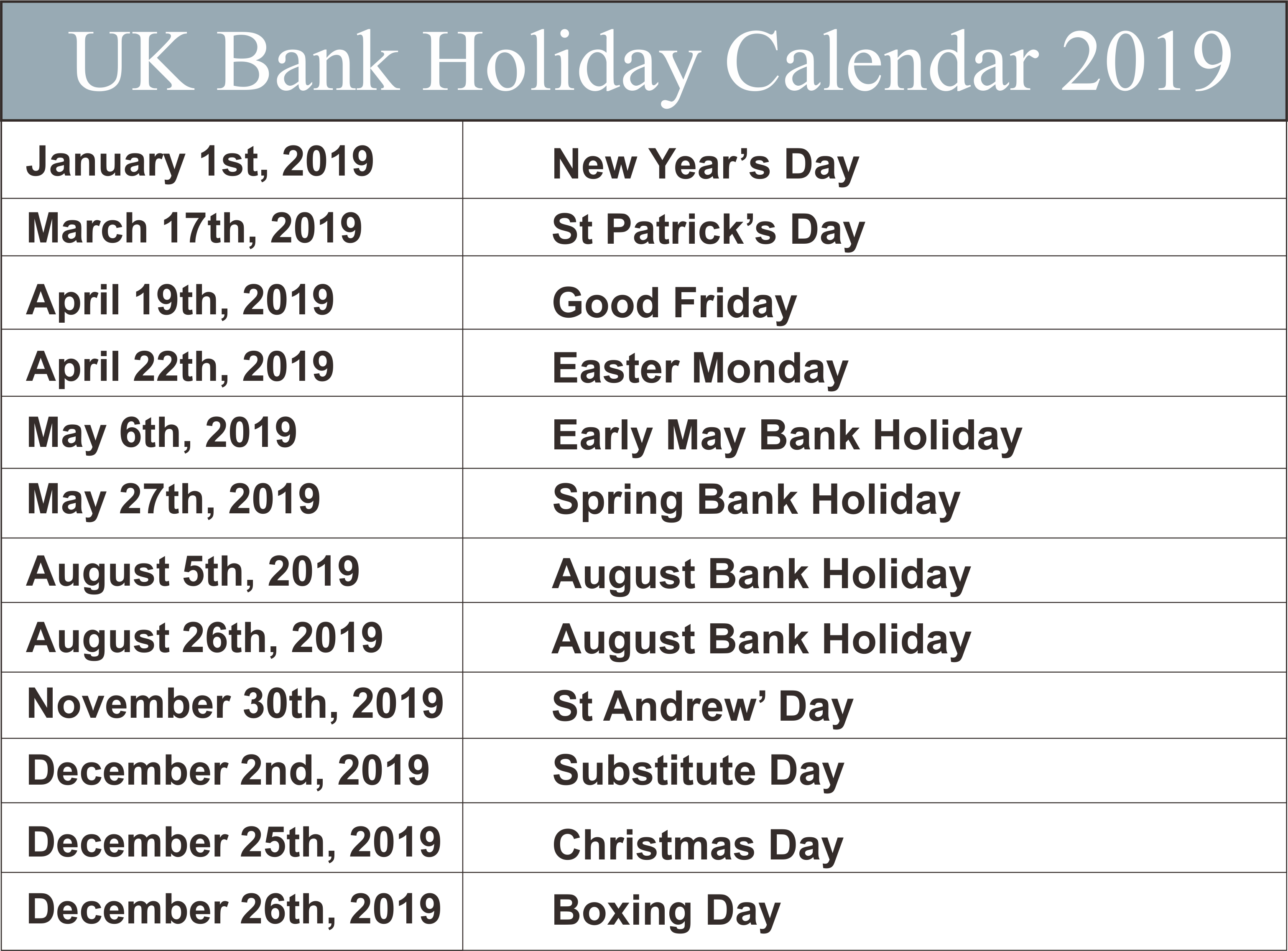 Uk Bank Holidays Calendar 2019 | Uk Federal Holidays | 2019