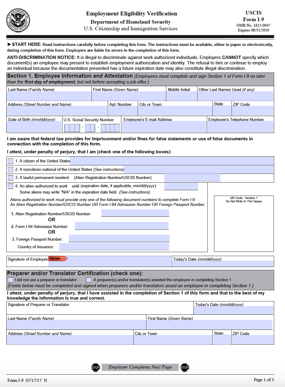 Uscis Form I-9 – Employment Eligibility Verification