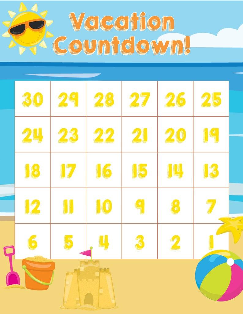Vacation Countdown - 8.5 X 11 Printable!