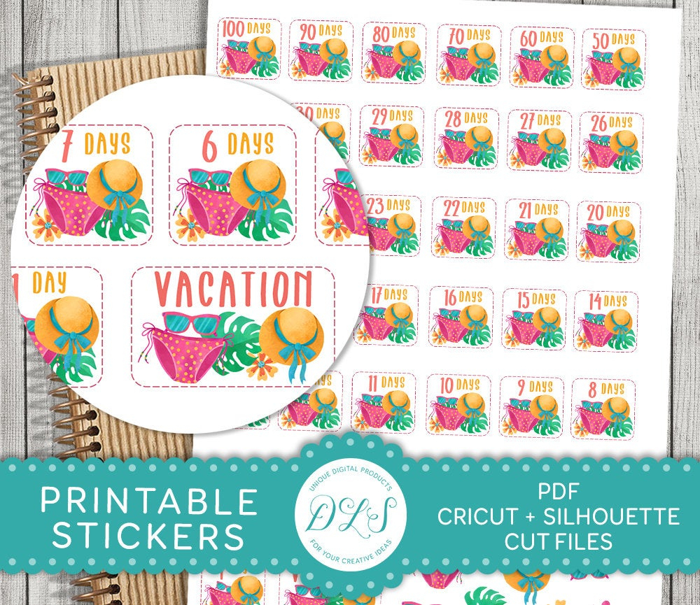 Vacation Countdown Printable Stickers, Vacation Countdown Planner Stickers,  Summer Vacation Planner Stickers Kit, Cut Files, Pdf, Ds122