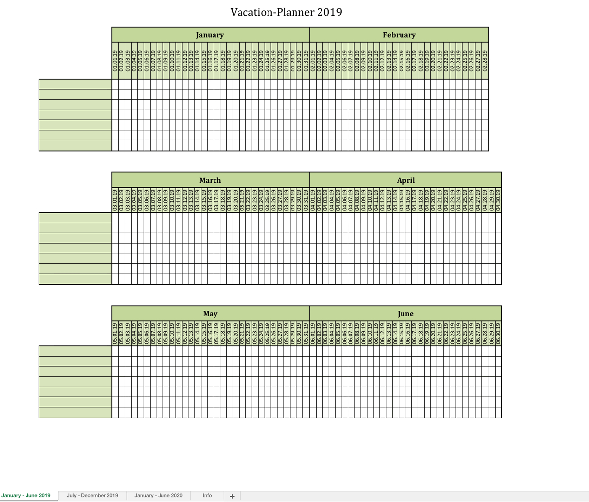 Vacation-Planner 2019 | Excel Templates For Every Purpose