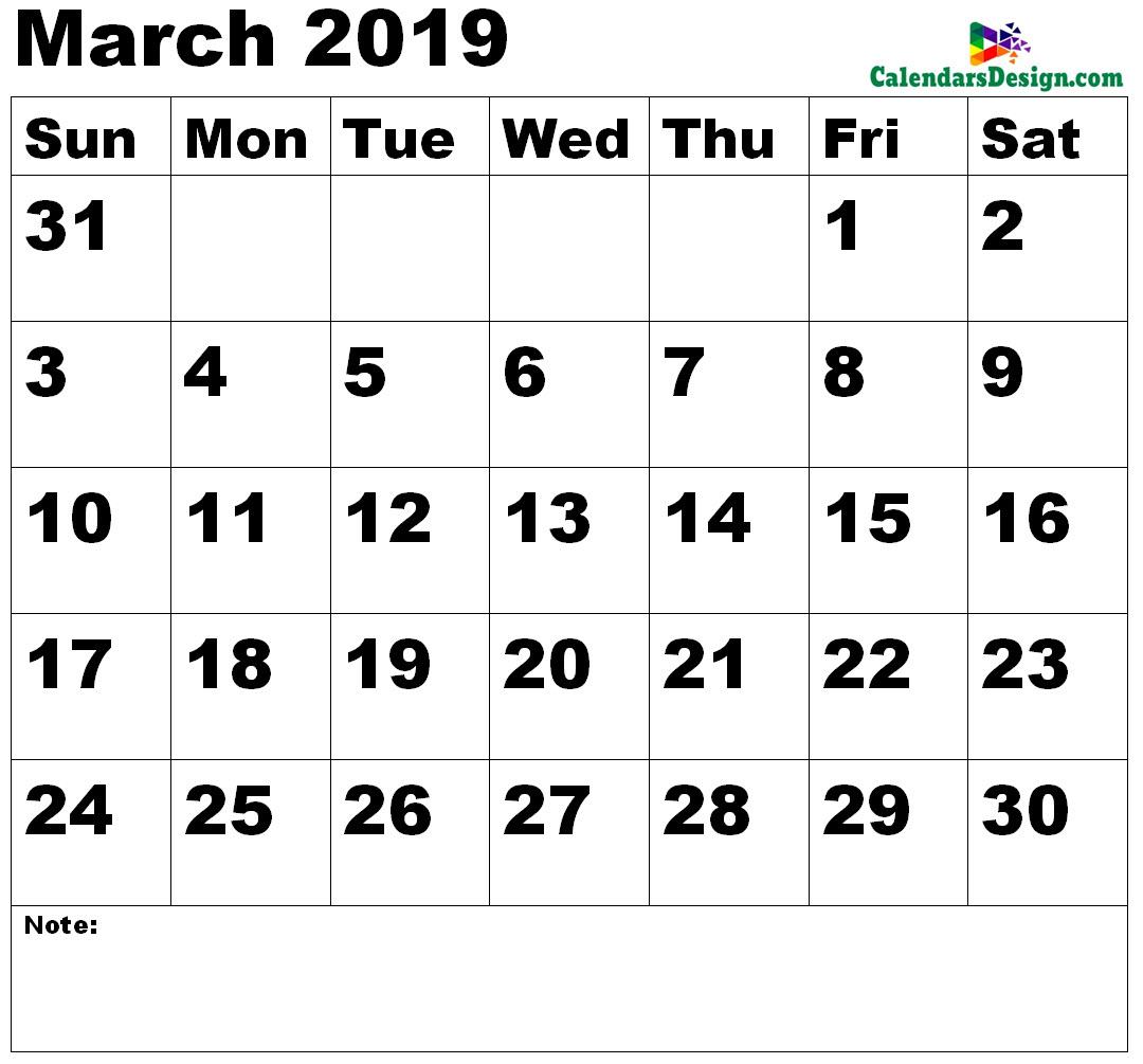Vertex March Calendar 2019 Printable - Free 2019 Printable