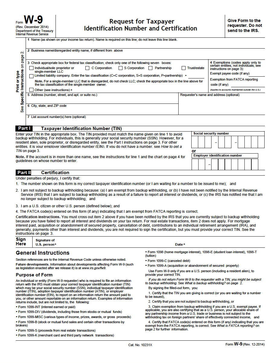 W-9 Request For Taxpayer Identification Number And