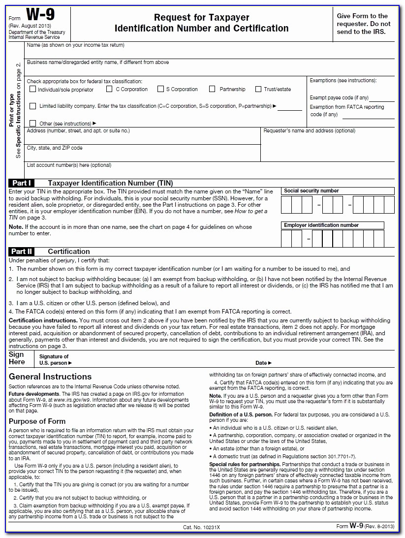 W 9 Tax Form Irs 9/tax Id Information Instructions
