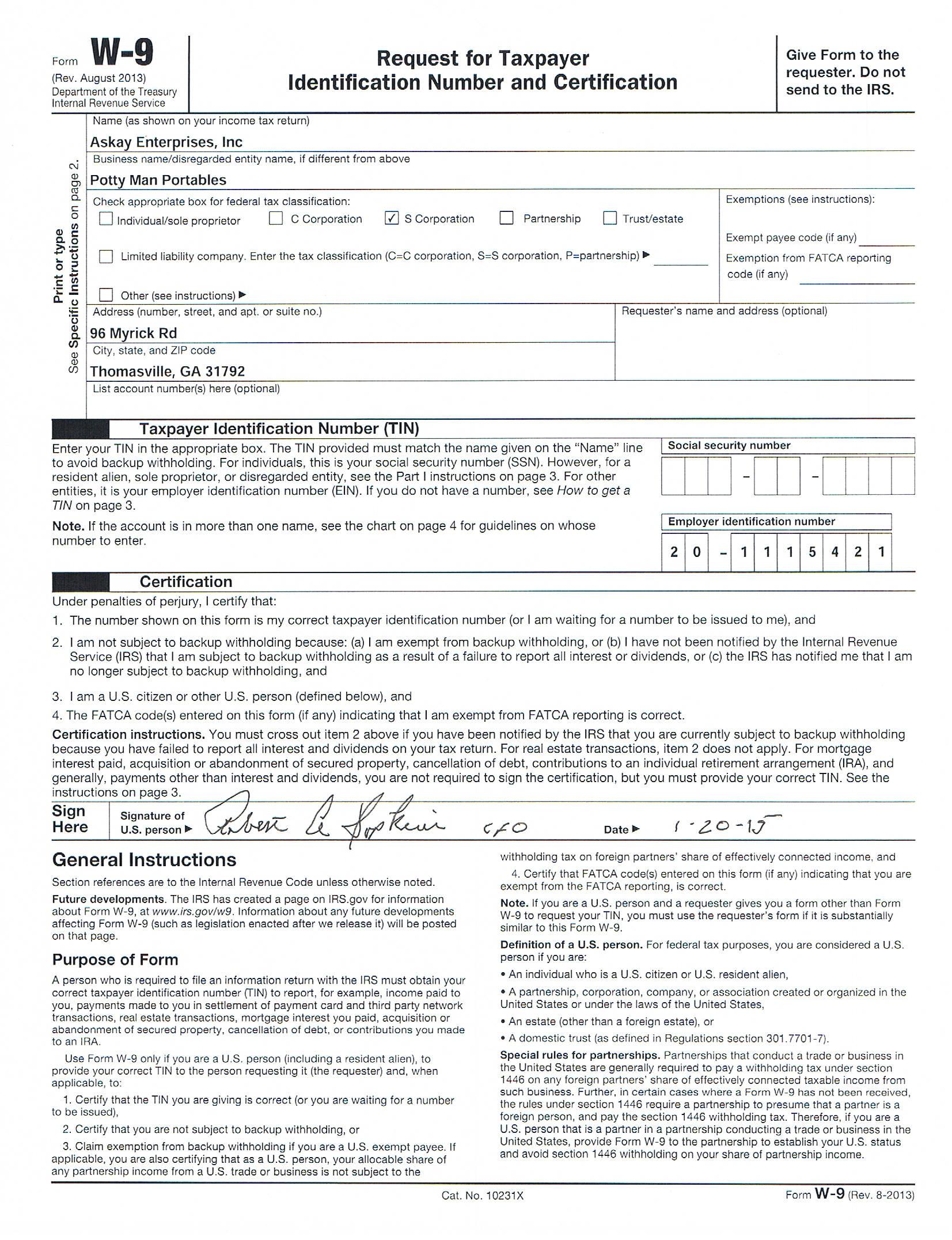 irs tax form w-9 2018