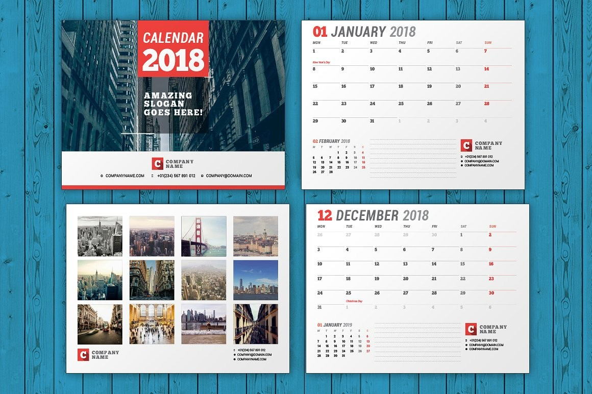 Wall Calendar 2018 Wc037 1 Within Calendar Template Indesign
