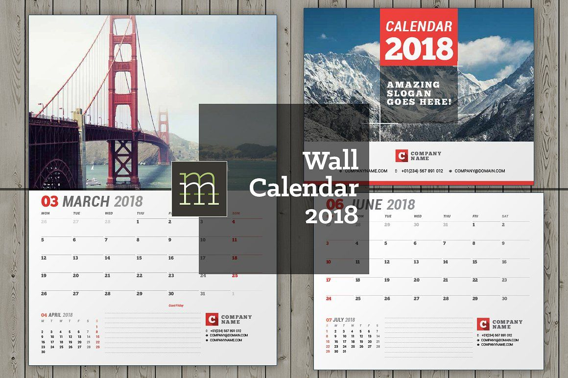 Wall Calendar For 2018 Year. Fully Editable Layered Indesign