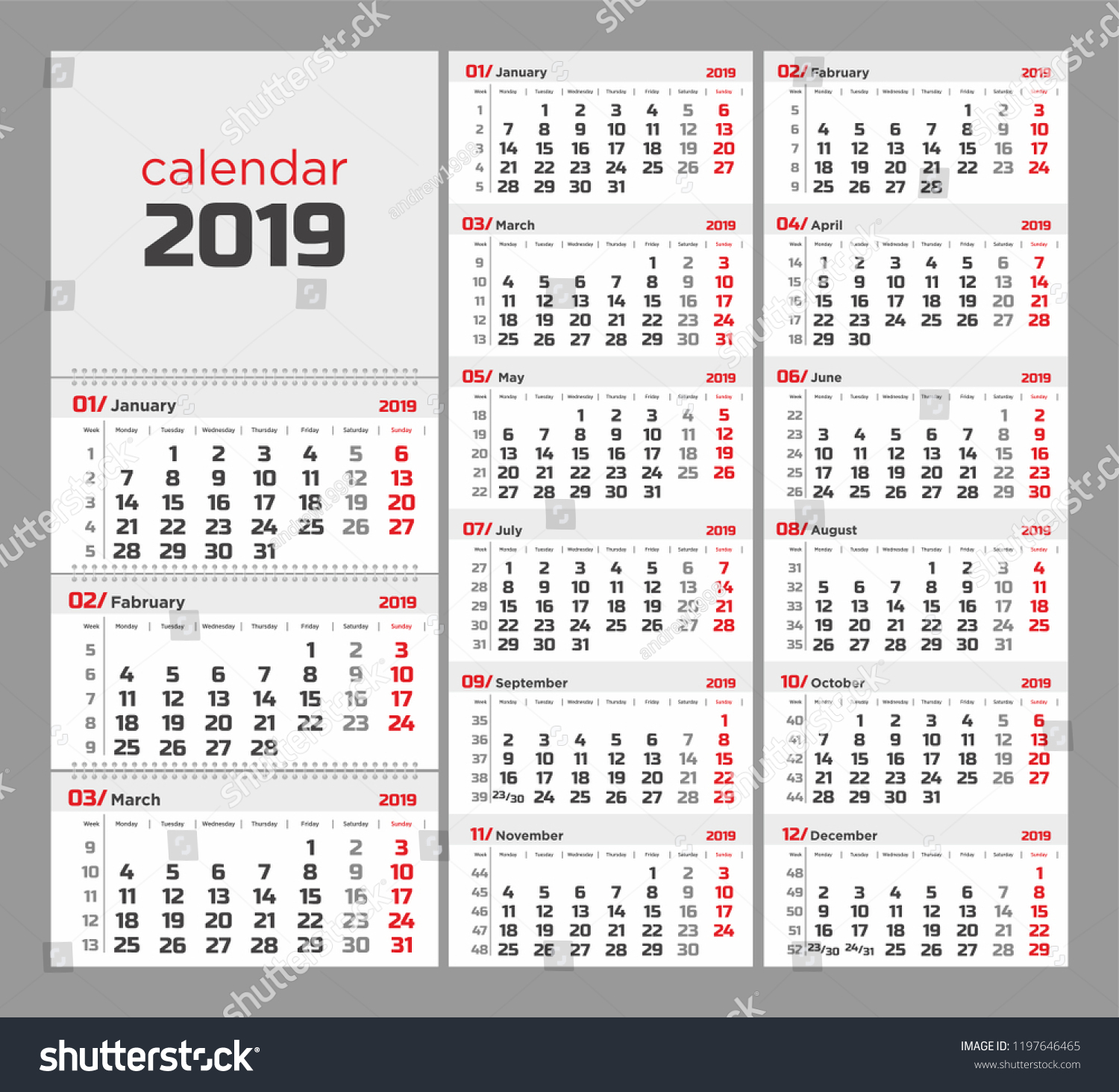 Wall Quarterly Calendar 2019 Week Numbers Stock Vector