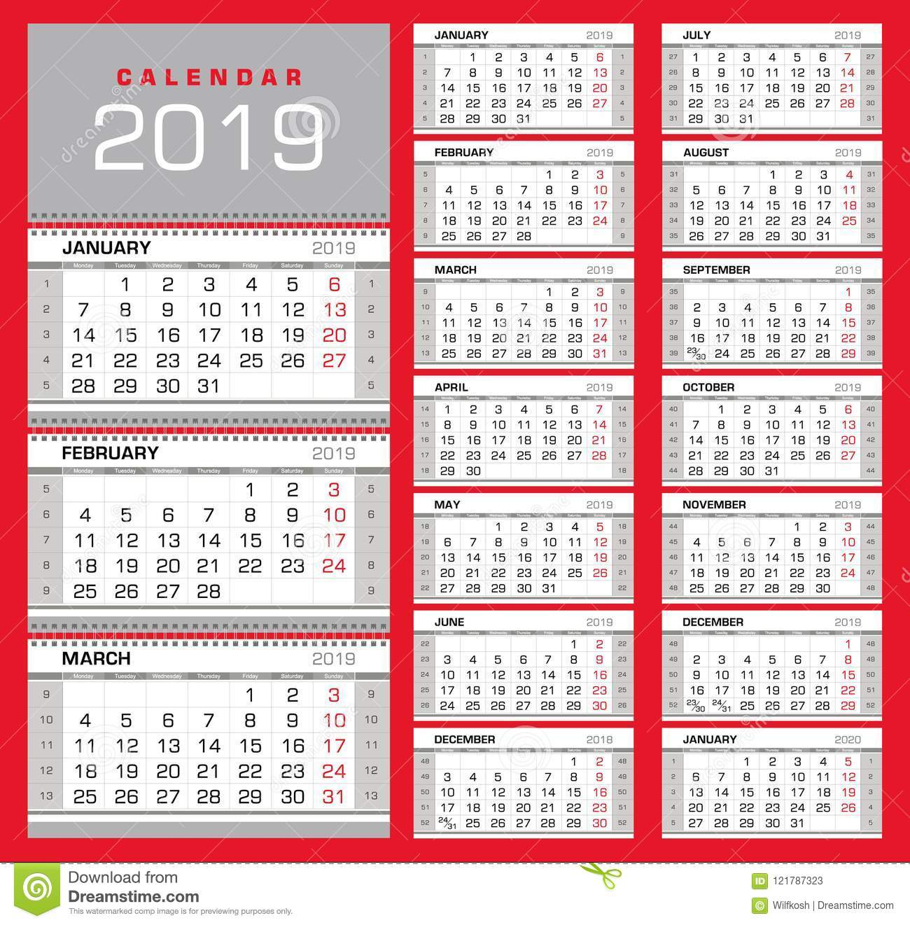 Wall Quarterly Calendar 2019 With Week Numbers. Week Start