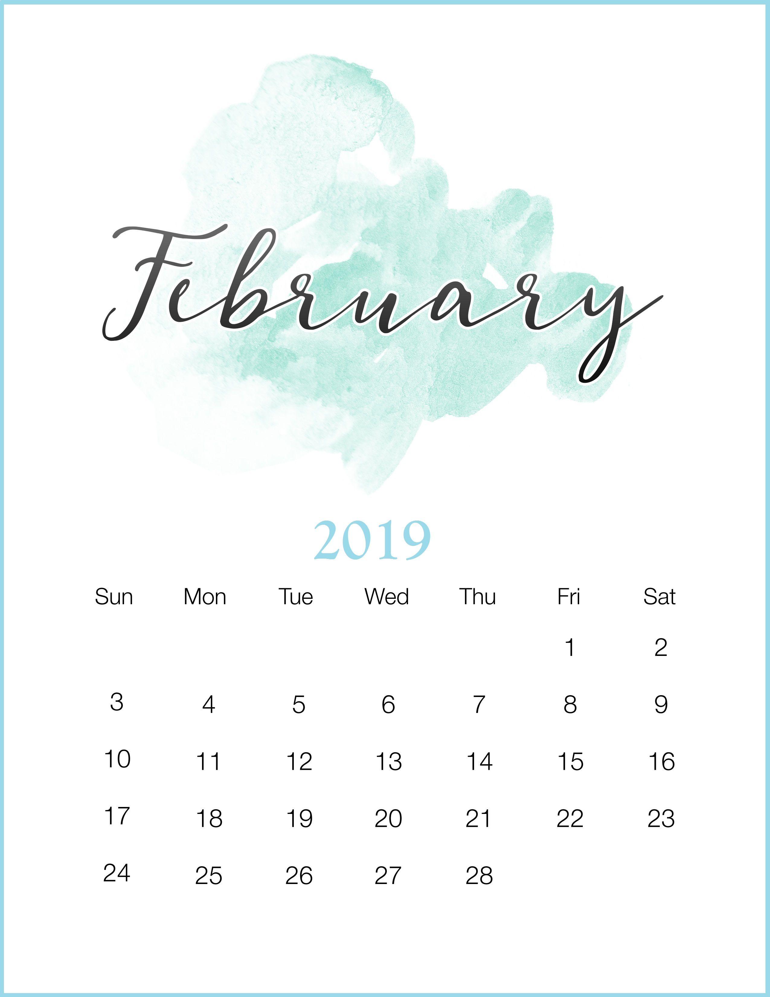 Watercolor 2019 February Printable Calendar #february2019