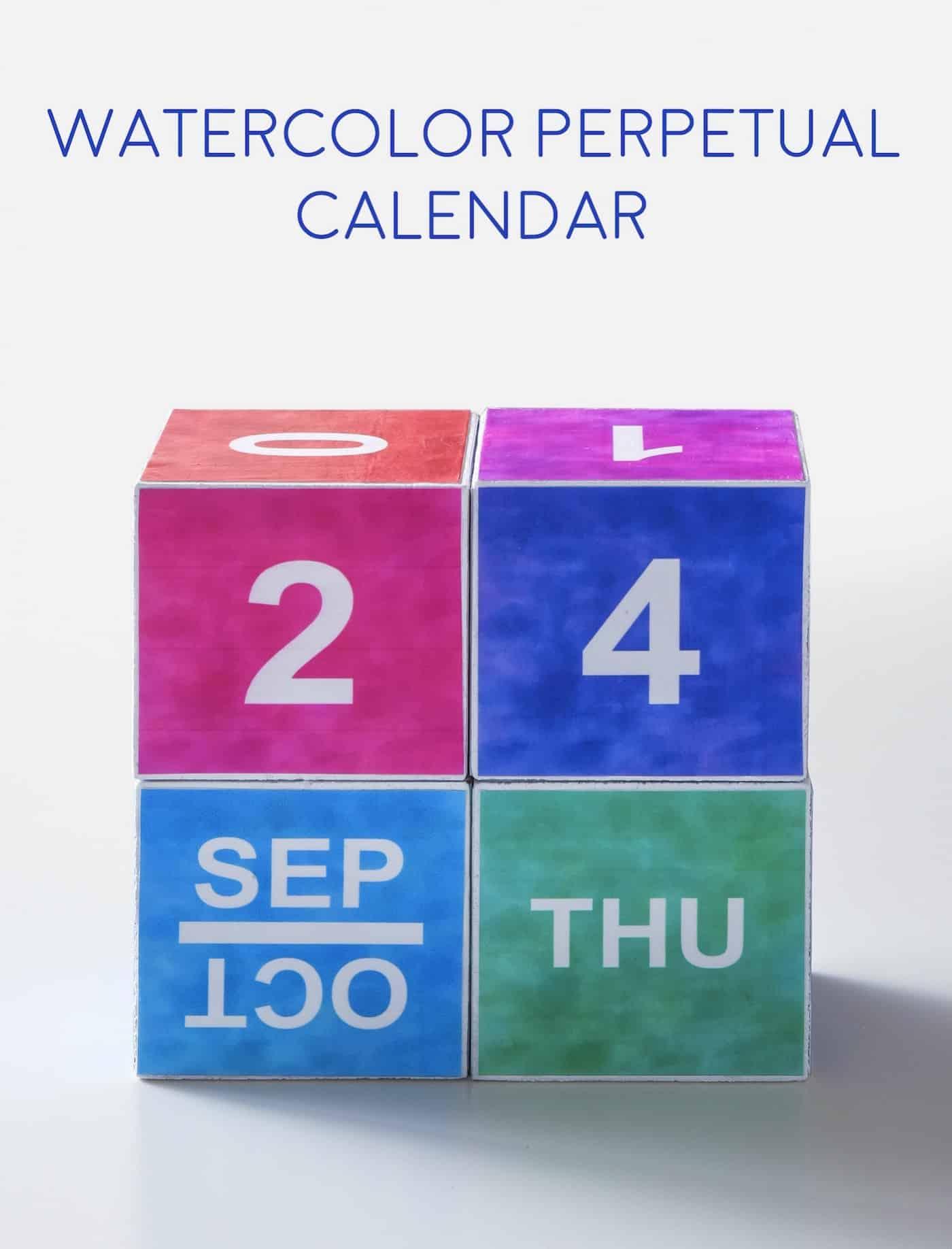 Watercolor Perpetual Calendar (With Free Printable) - Mod