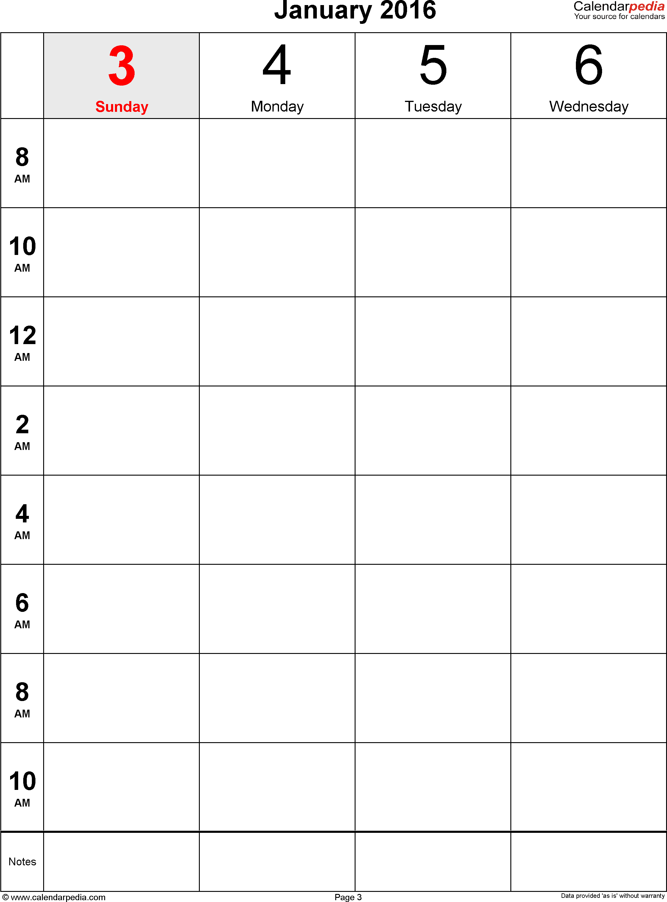 Weekly Calendar 2016 For Excel - 12 Free Printable Templates