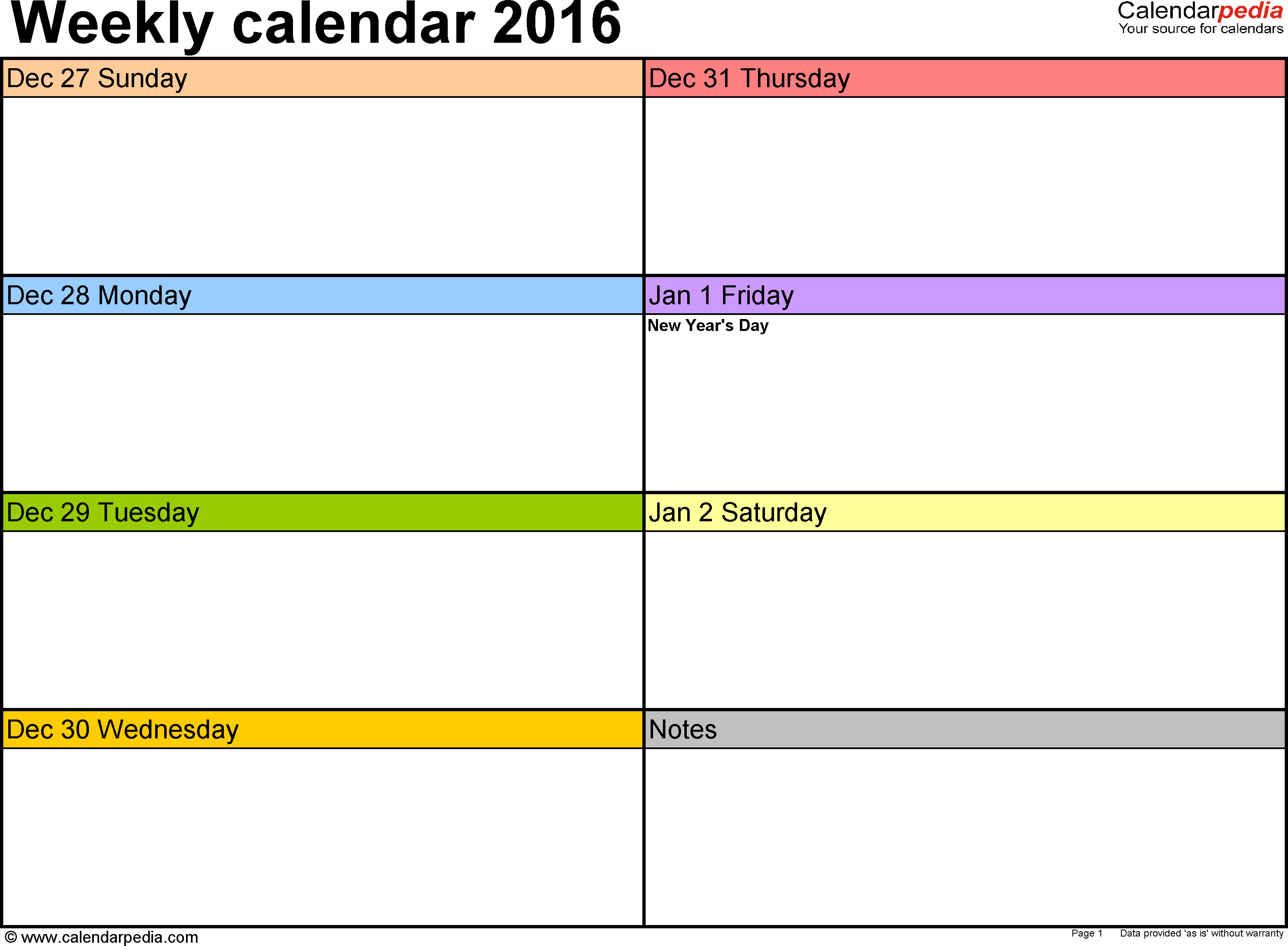 Weekly Calendar 2016: Template For Word Version 2, Landscape
