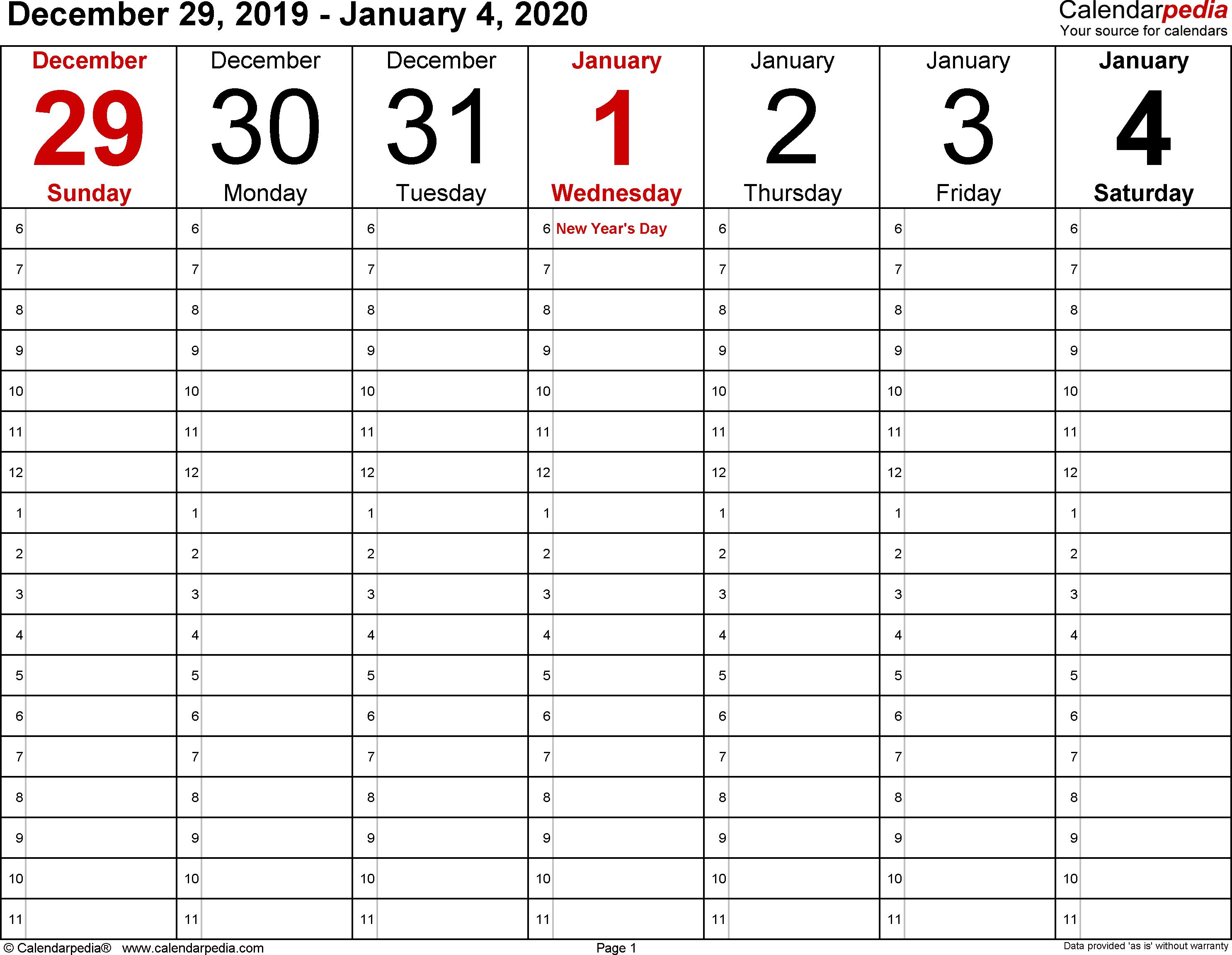 Weekly Calendar 2020 For Pdf - 12 Free Printable Templates