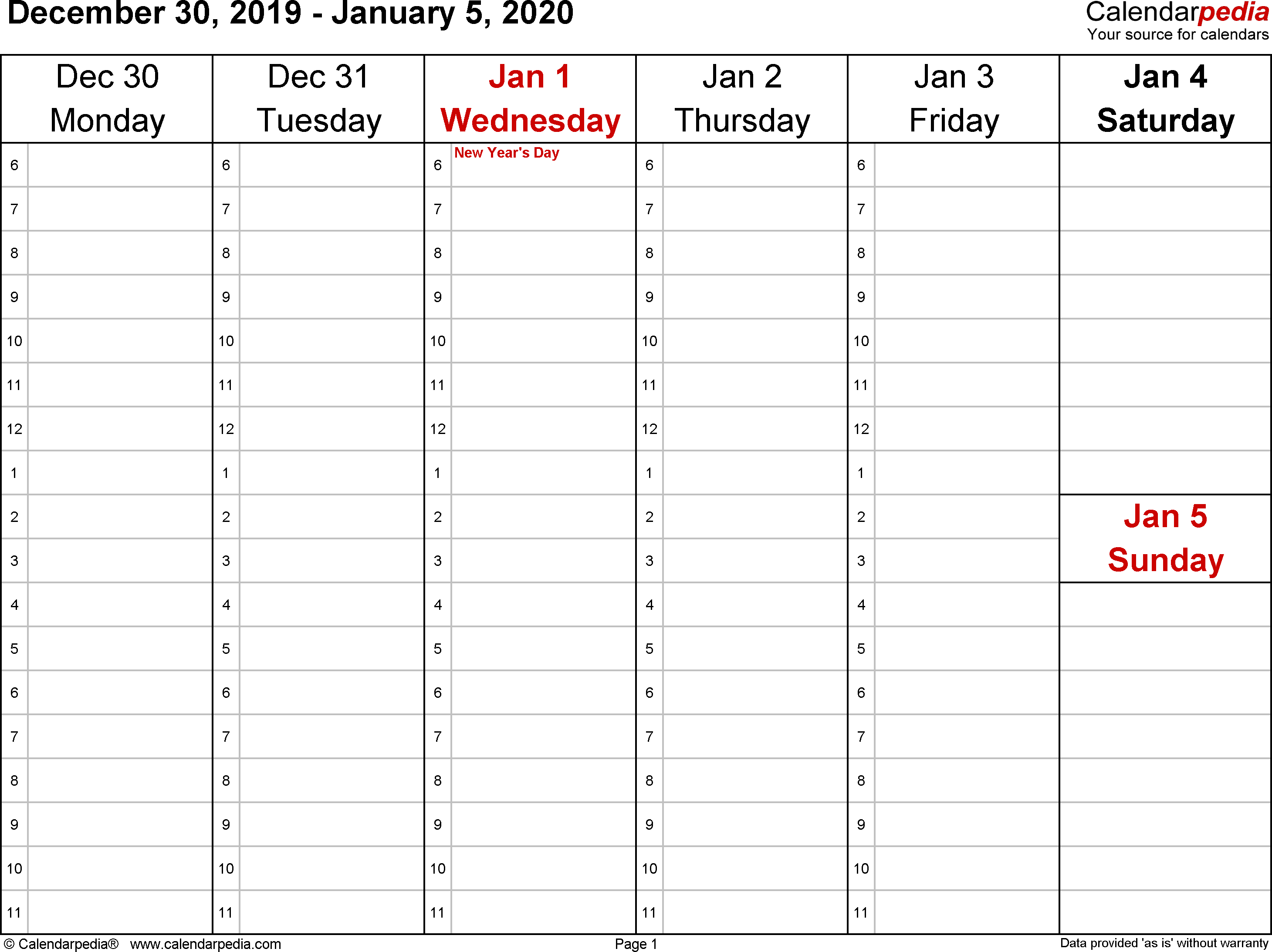 Weekly Calendar 2020 For Word - 12 Free Printable Templates