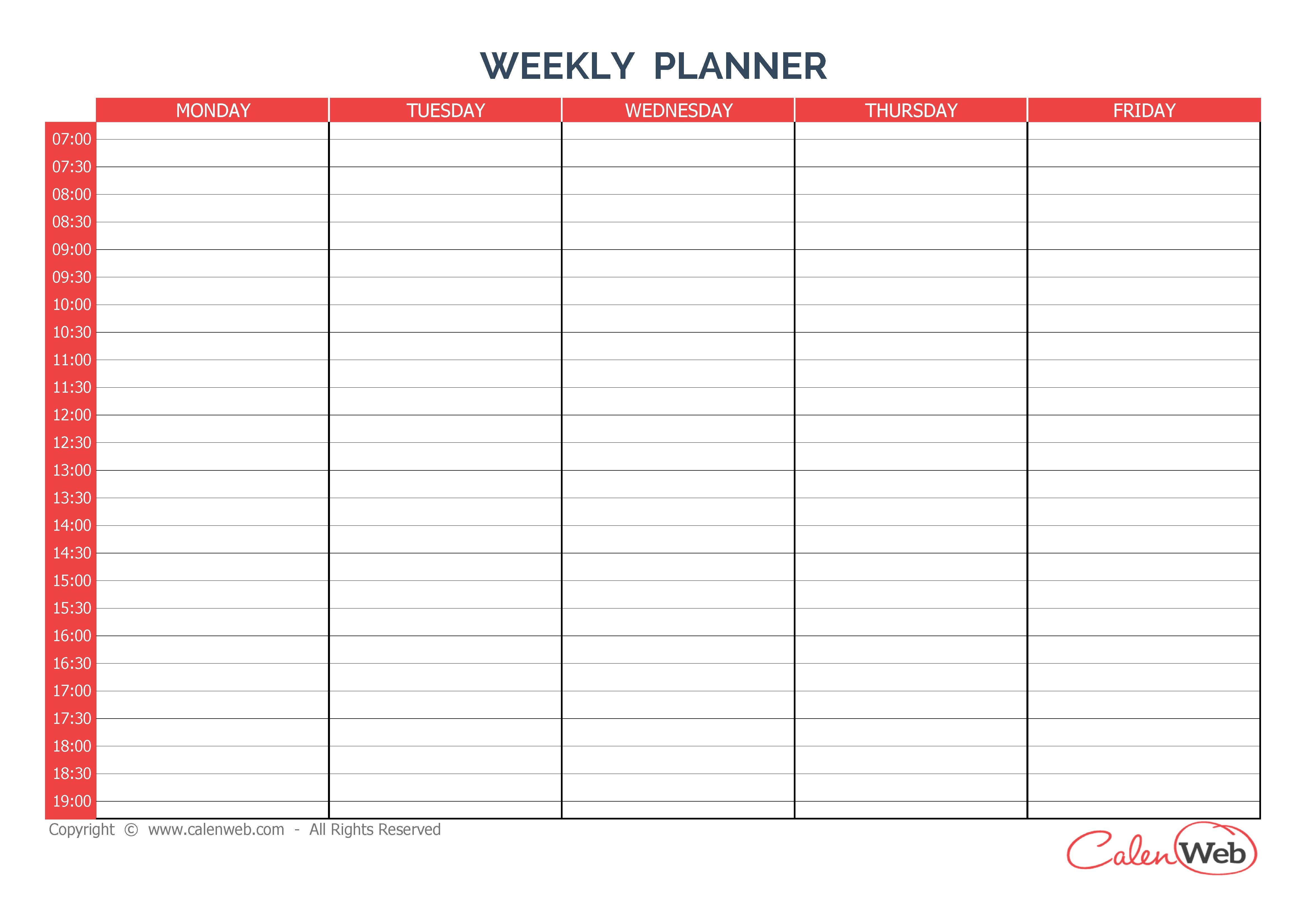 Weekly Calendar | Free Download Best Weekly Calendar On
