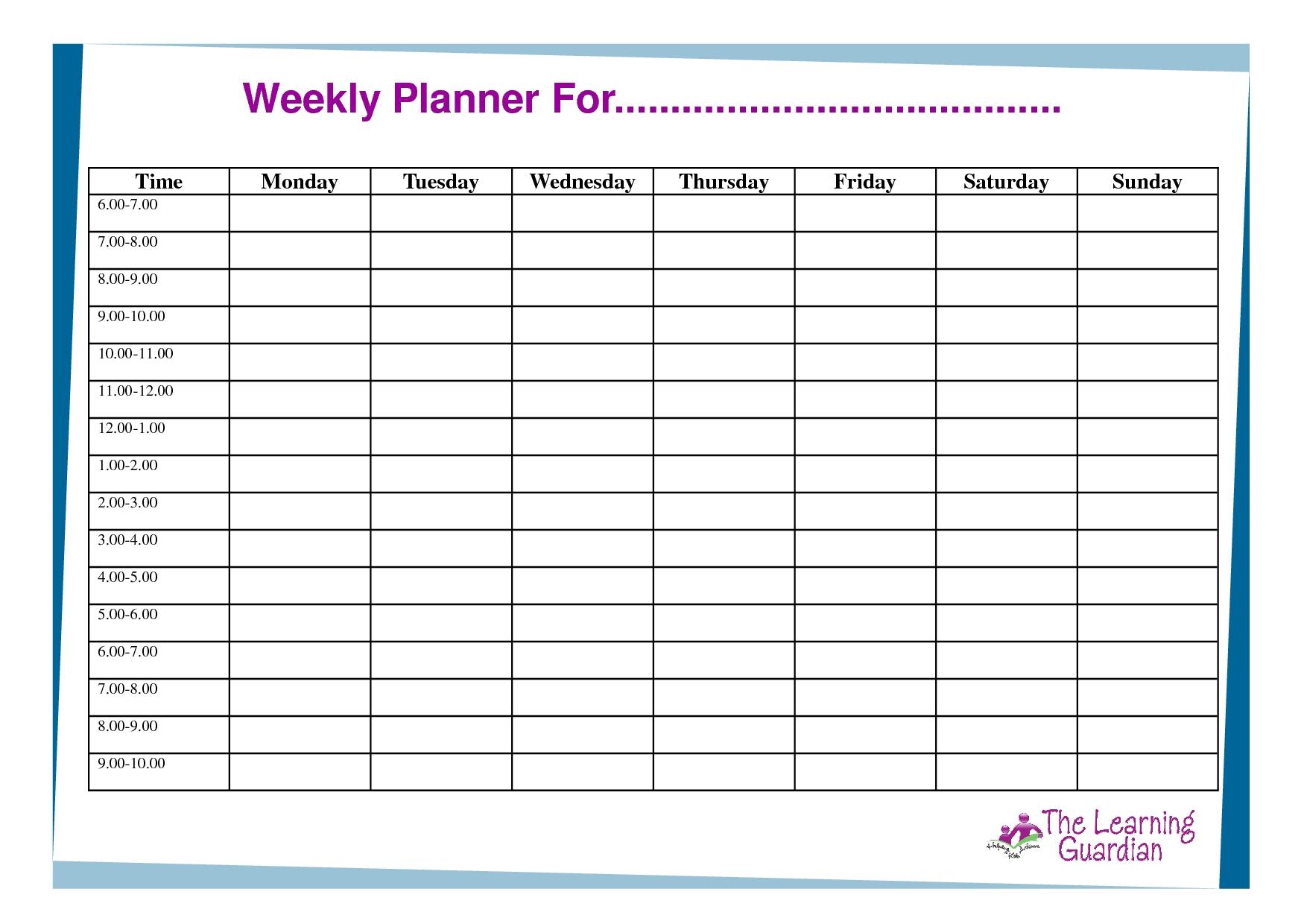 Weekly Calendar H Hours Template Erieairfair Downloadable