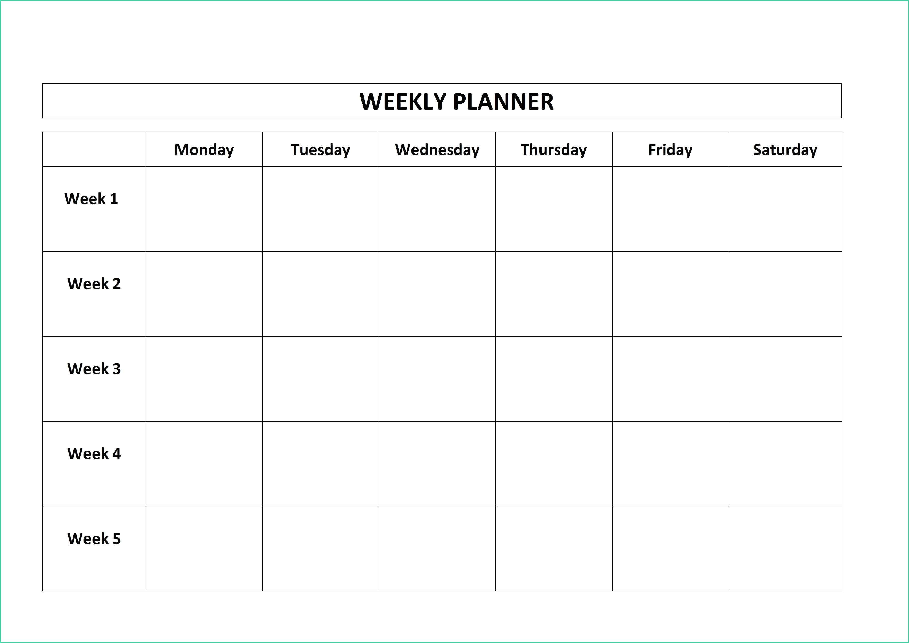Weekly Calendar Template D Schedule Most Recent Monday