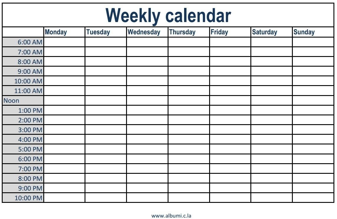 Weekly Calendar With Times Slots Printable | Isacl