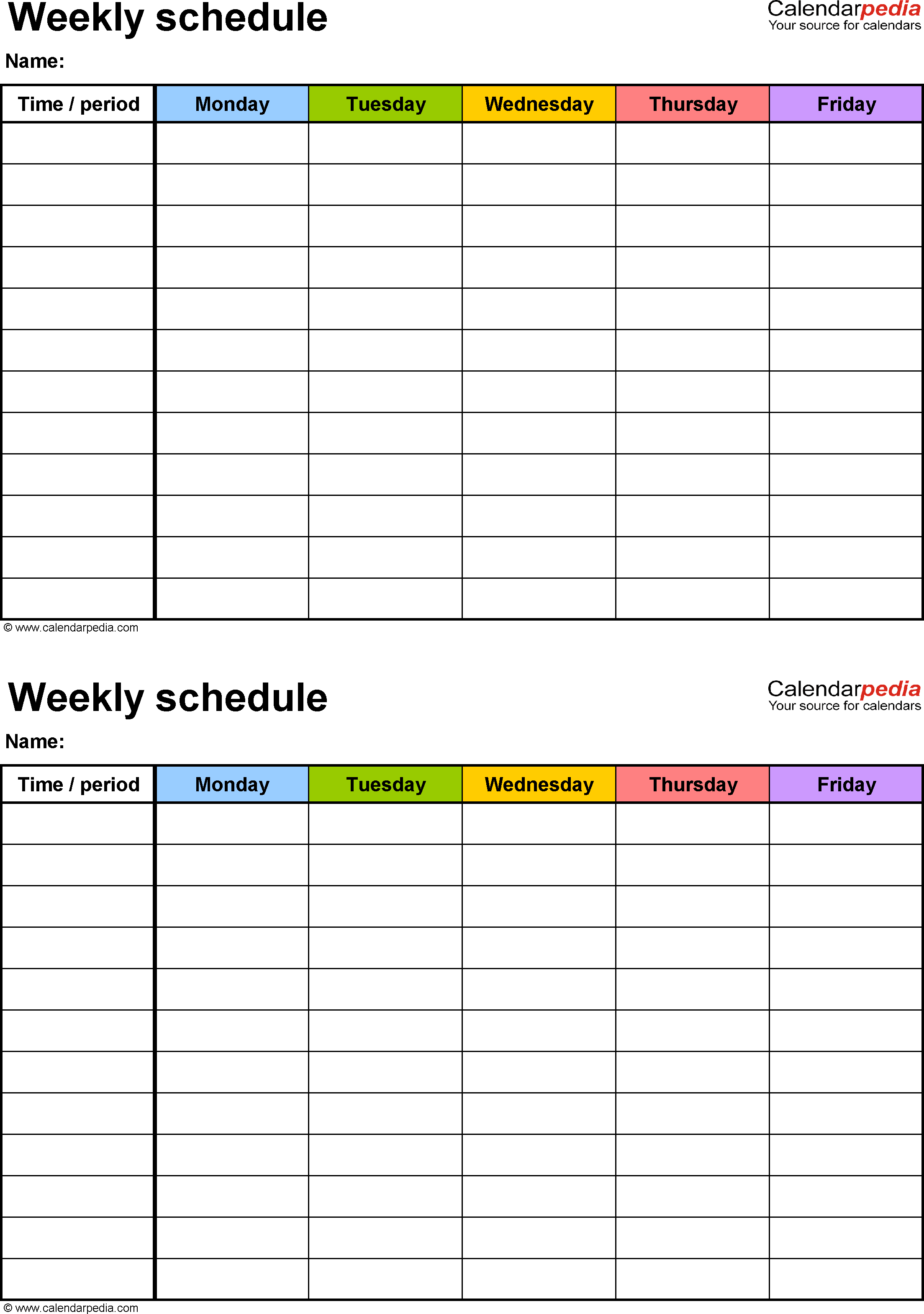 Weekly Edule Printable Free Templates For Pdf Cleaning Words