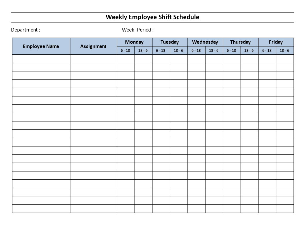 Weekly Employee 12 Hour Shift Schedule Mon To Fri - Weekly