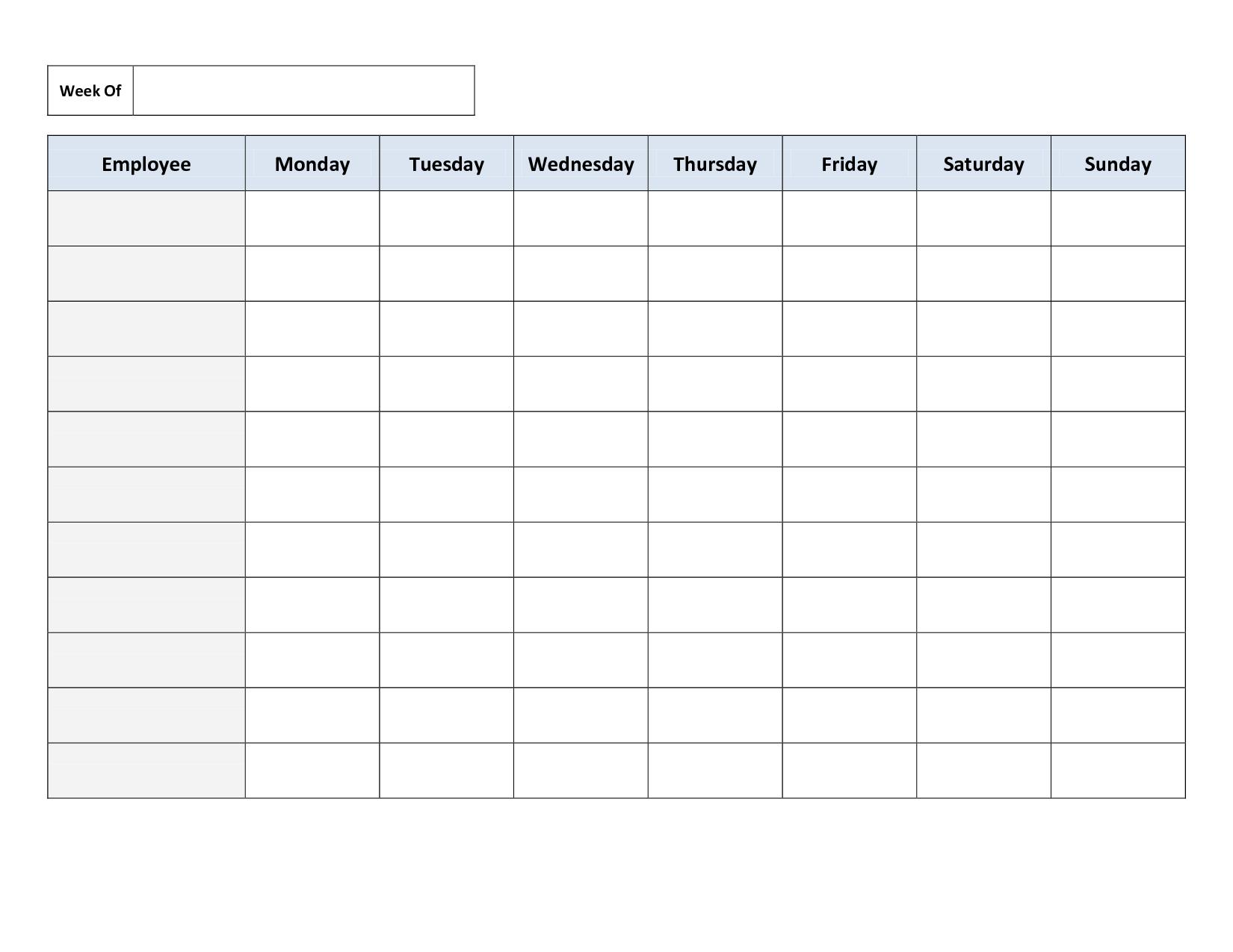 Weekly Employee Work Schedule Template. Free Blank Schedule