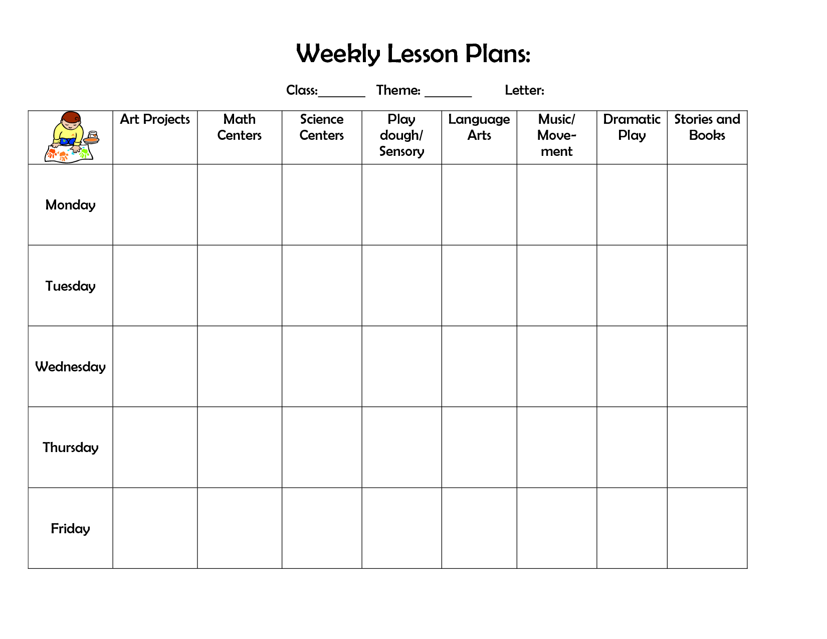 Weekly Lesson Plan | Lesson Plan Template | Preschool Lesson