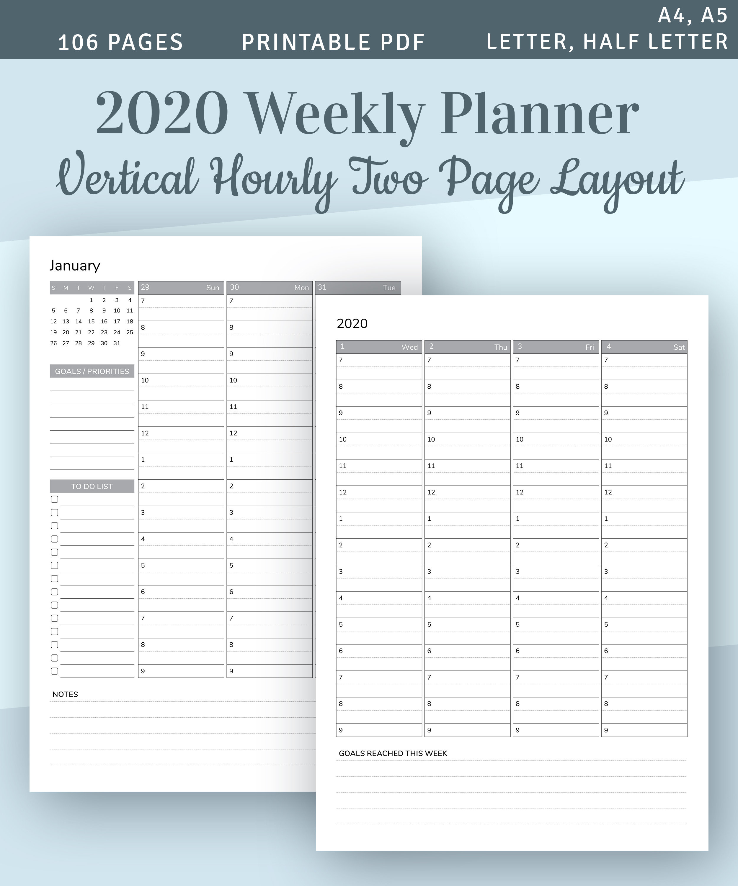 Weekly Planner 2020 With Calendar, Hourly Planner Printable Template,  Hourly Agenda Printable, Schedule Planner, A4 A5 Planner Insert, Pdf