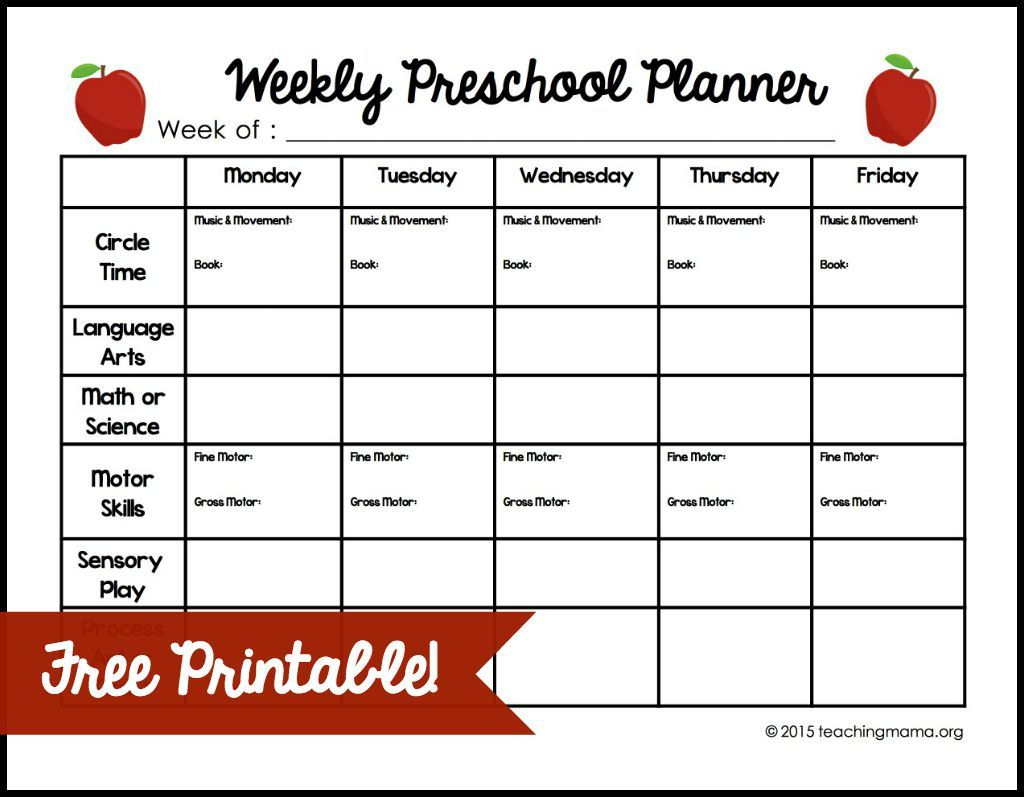 Weekly Preschool Planner | Teaching Mama's Posts | Preschool
