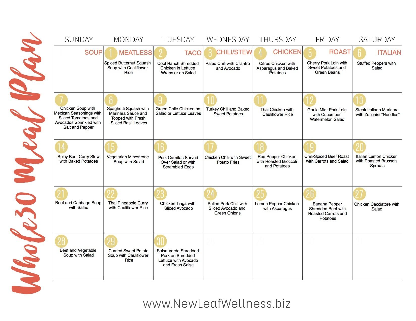 Whole 30 Calendar Printable ~ Hd Calendar Printable Template