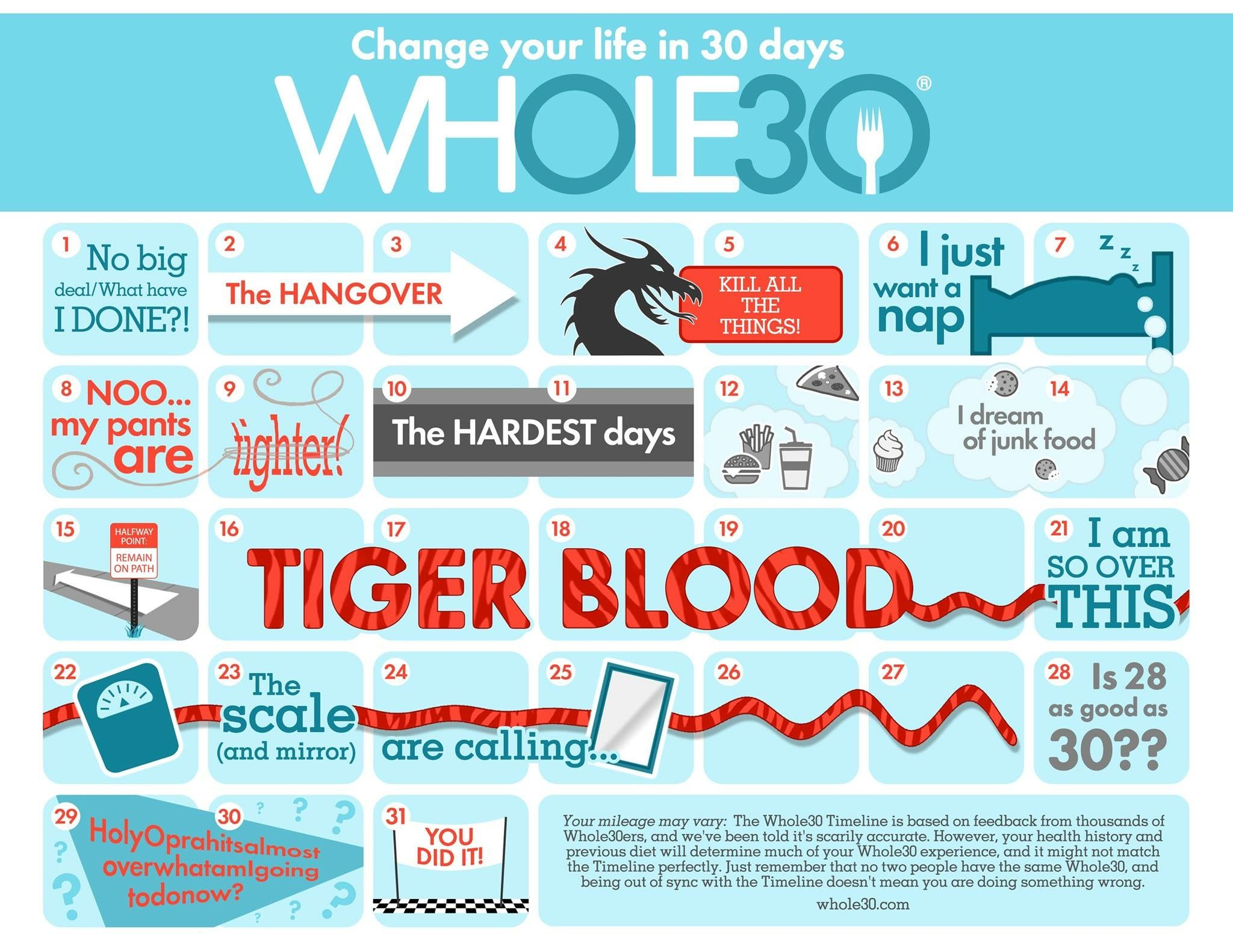 Whole 30 Calendar: What To Expect Dayday | Whole 30