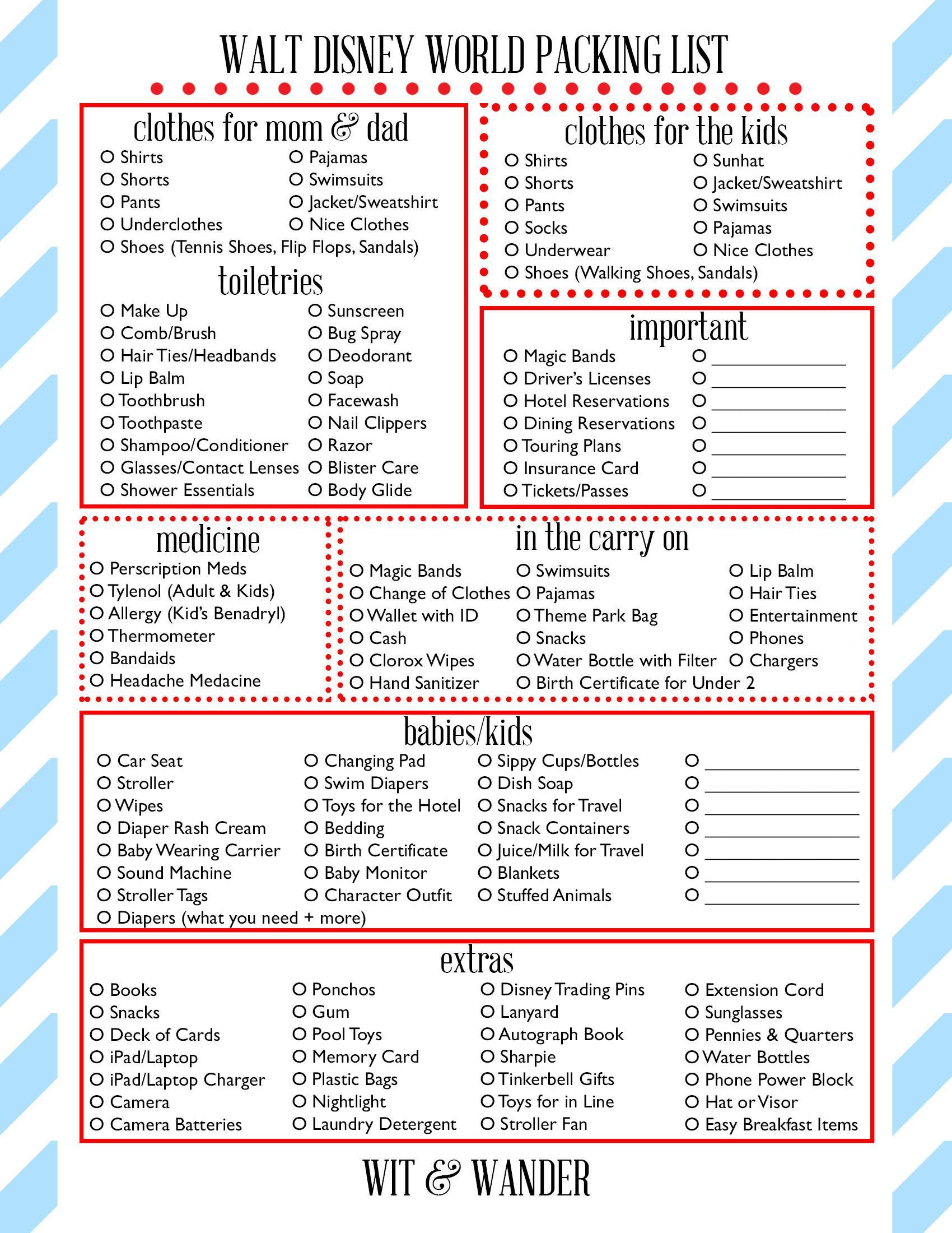 Wit And Wander Walt Disney World Printable Packing Sheet
