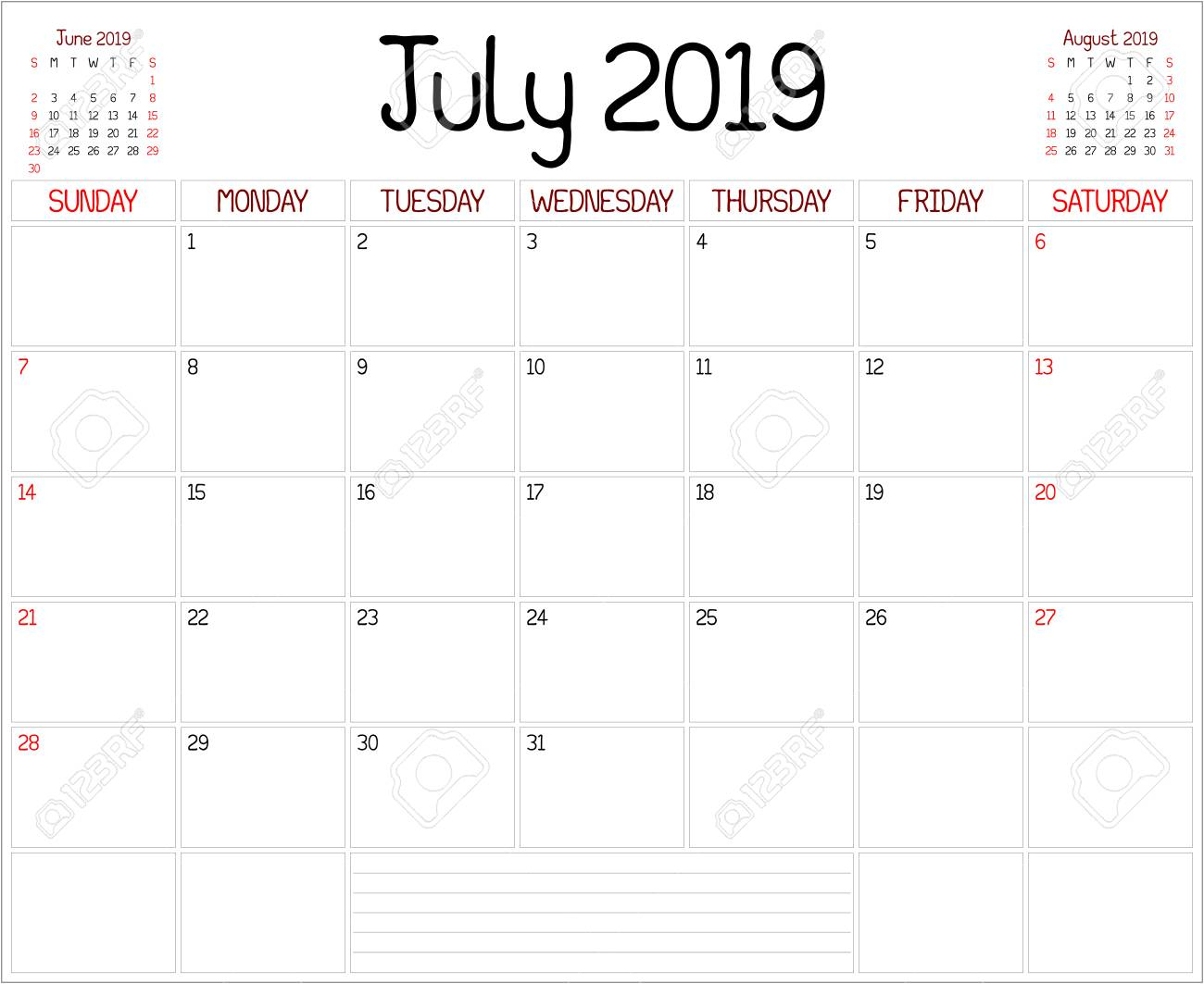 Year 2019 July Planner - A Monthly Planner Calendar For July..